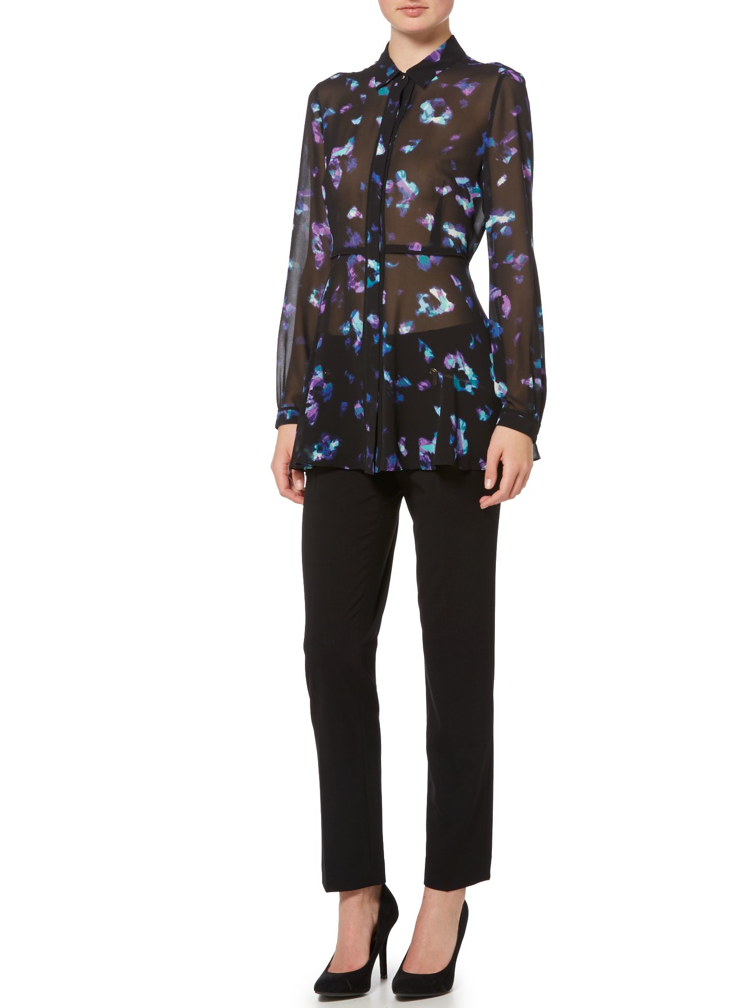 Ellen Tracy Button Front Printed Tunic Lyst