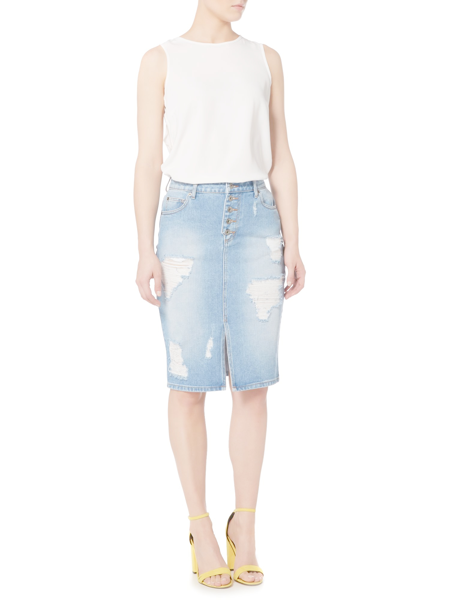 bardot distressed fitted midi skirt in blue lyst