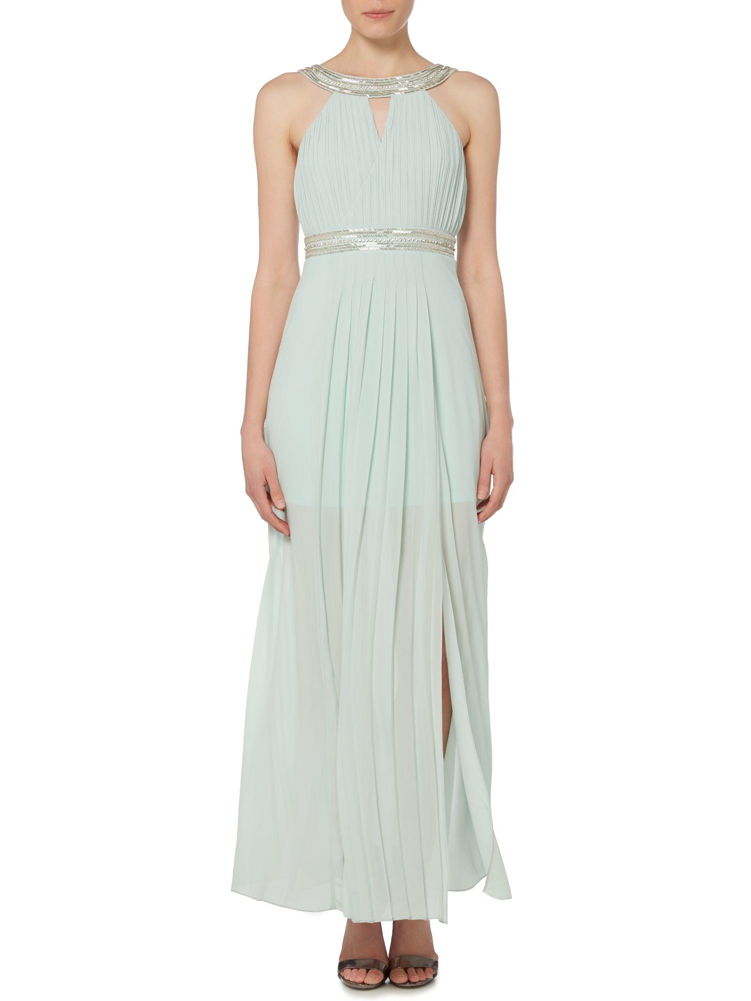 tfnc sleeveless embellished belt maxi dress in blue