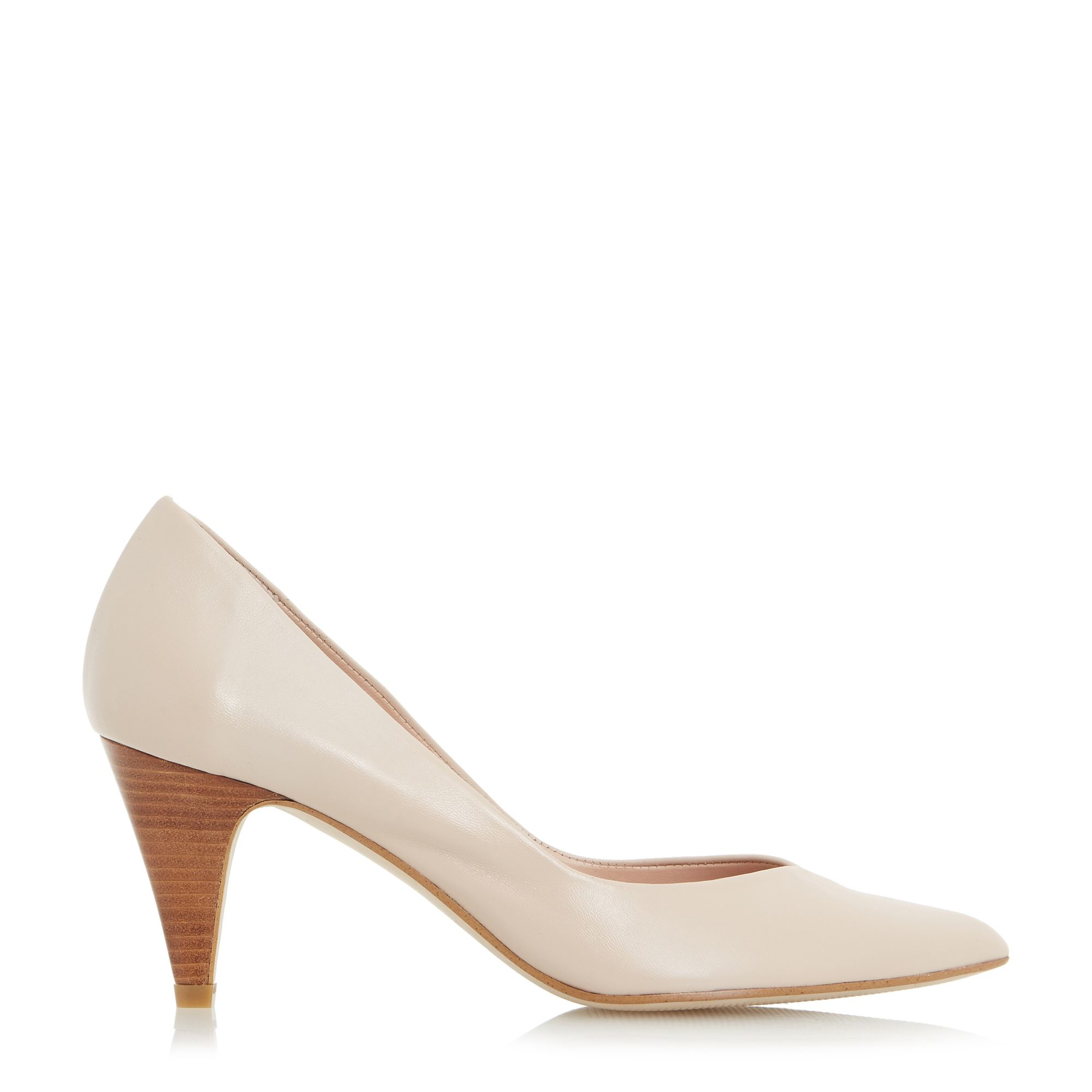 dune adelaide pointed mid heel court shoes in white lyst