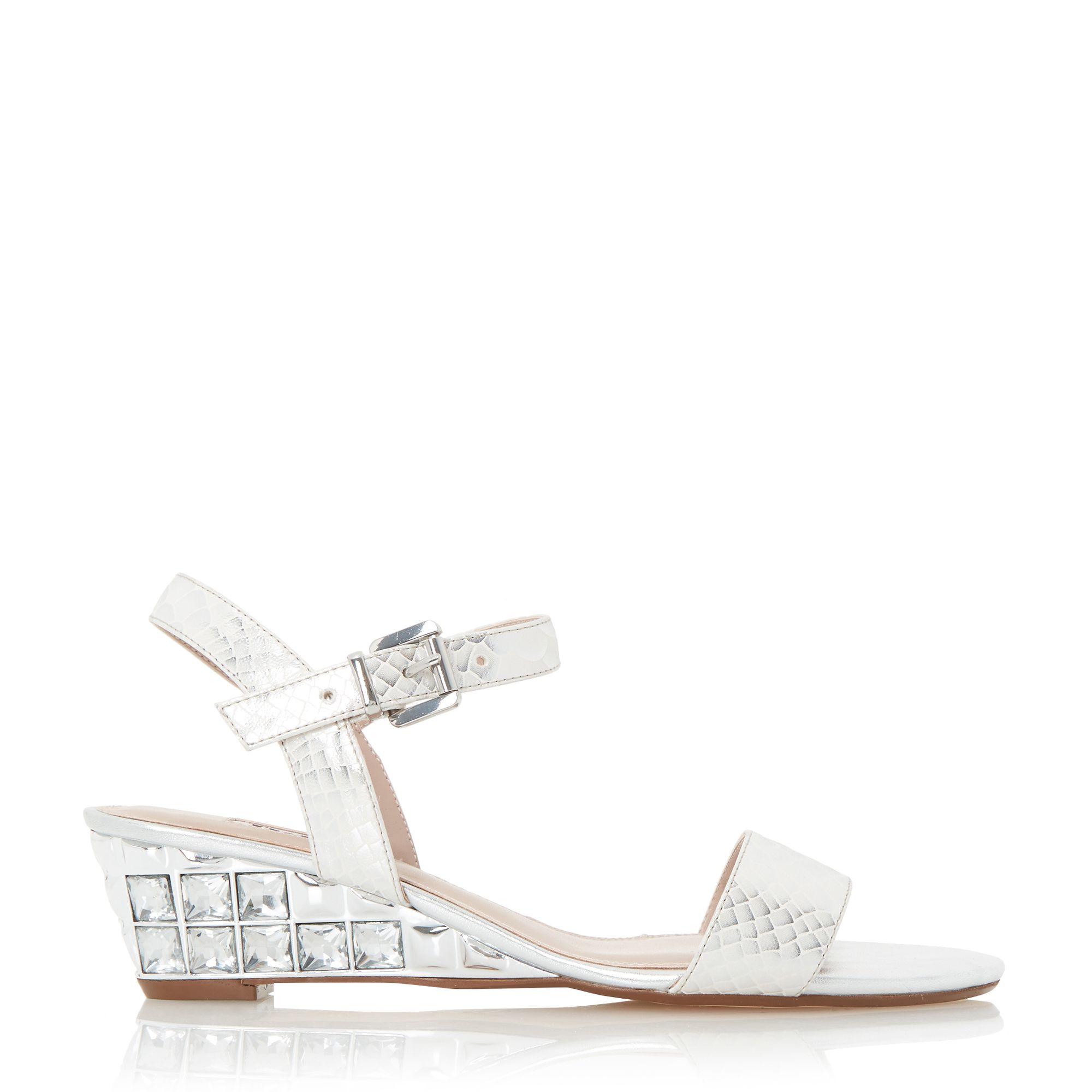 818d8129b96691 Dune Monaa Jewelled Wedge Sandals in White - Lyst