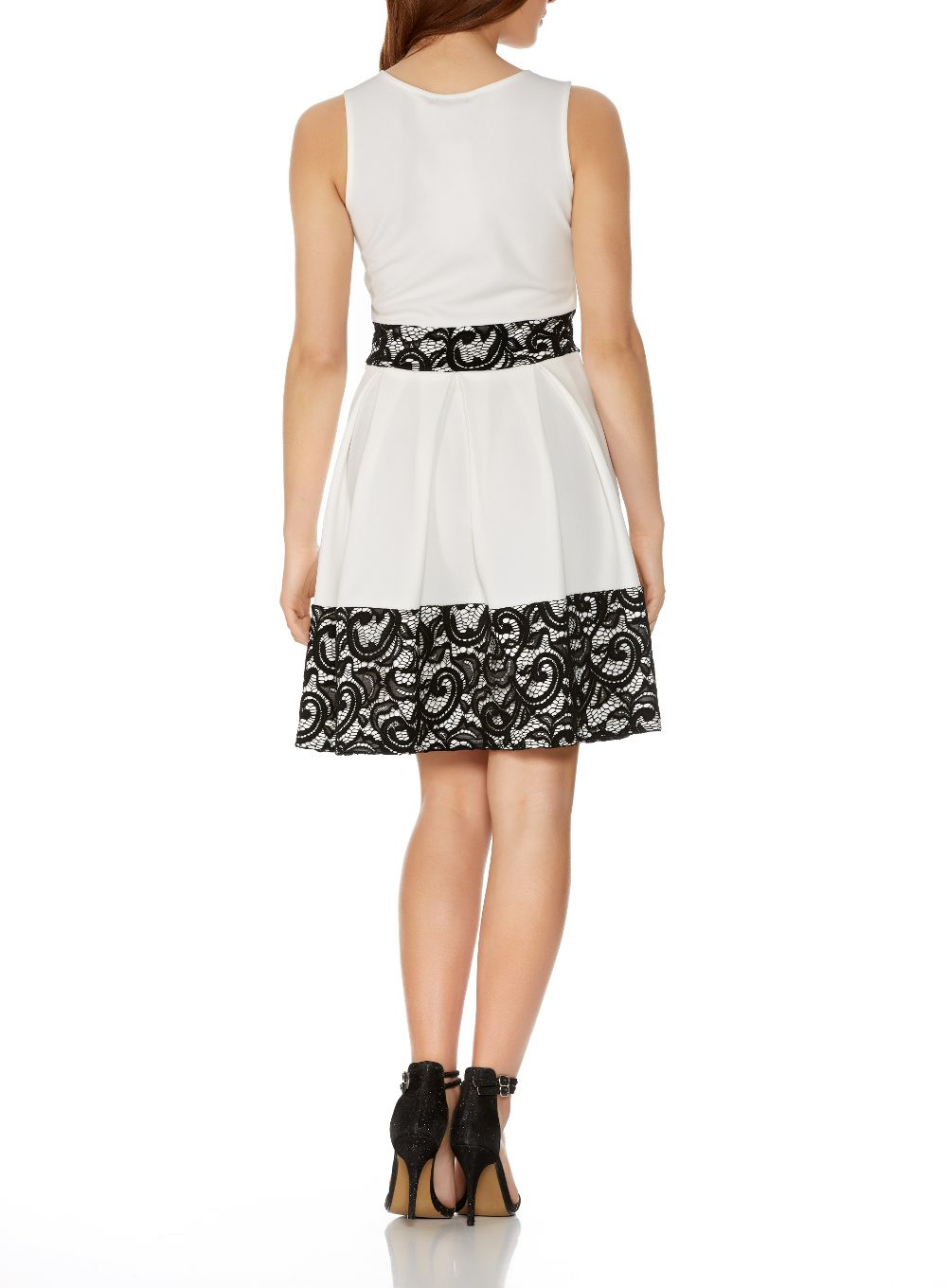 Lyst Quiz Cream And Black Lace Skater Dress In Natural