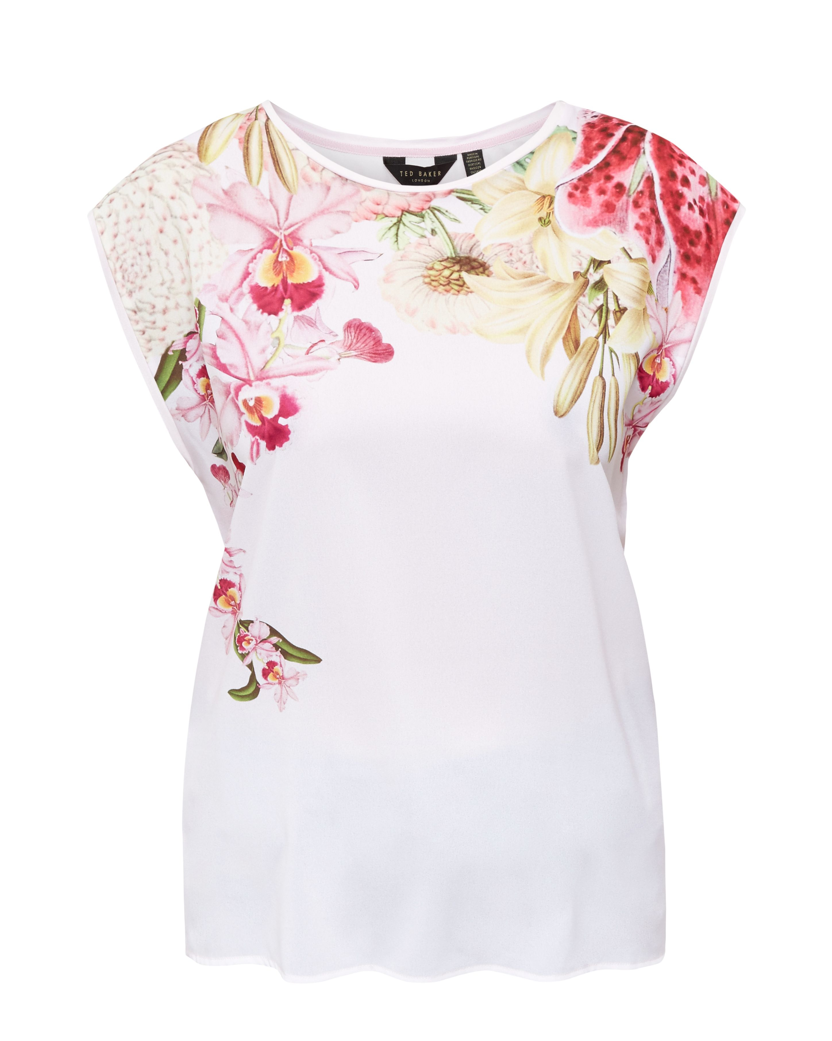 Lyst ted baker catlee encyclopedia floral t shirt in white for Ted baker floral shirt