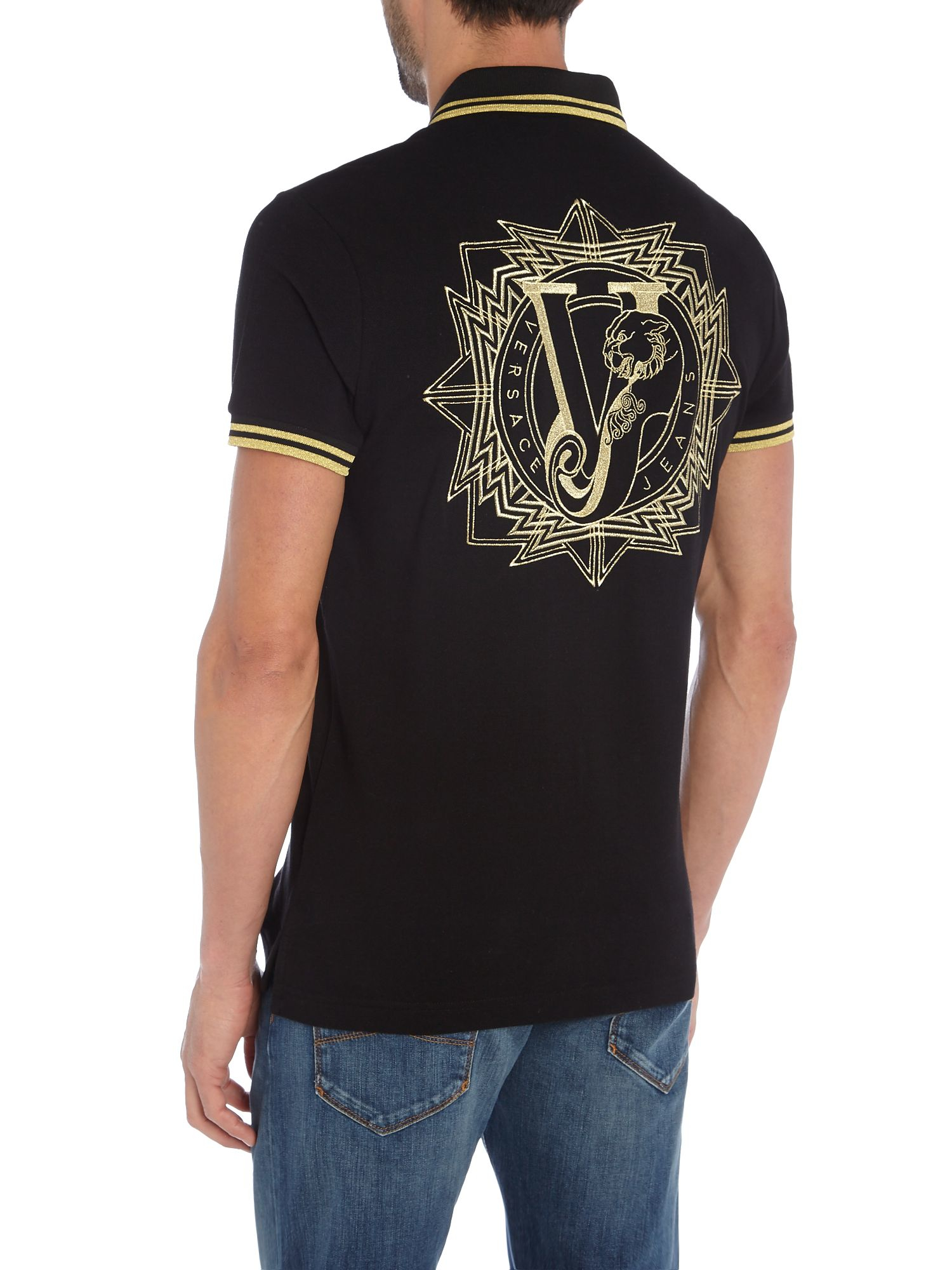 Versace jeans large back logo print polo shirt in black for Polo shirt and jeans