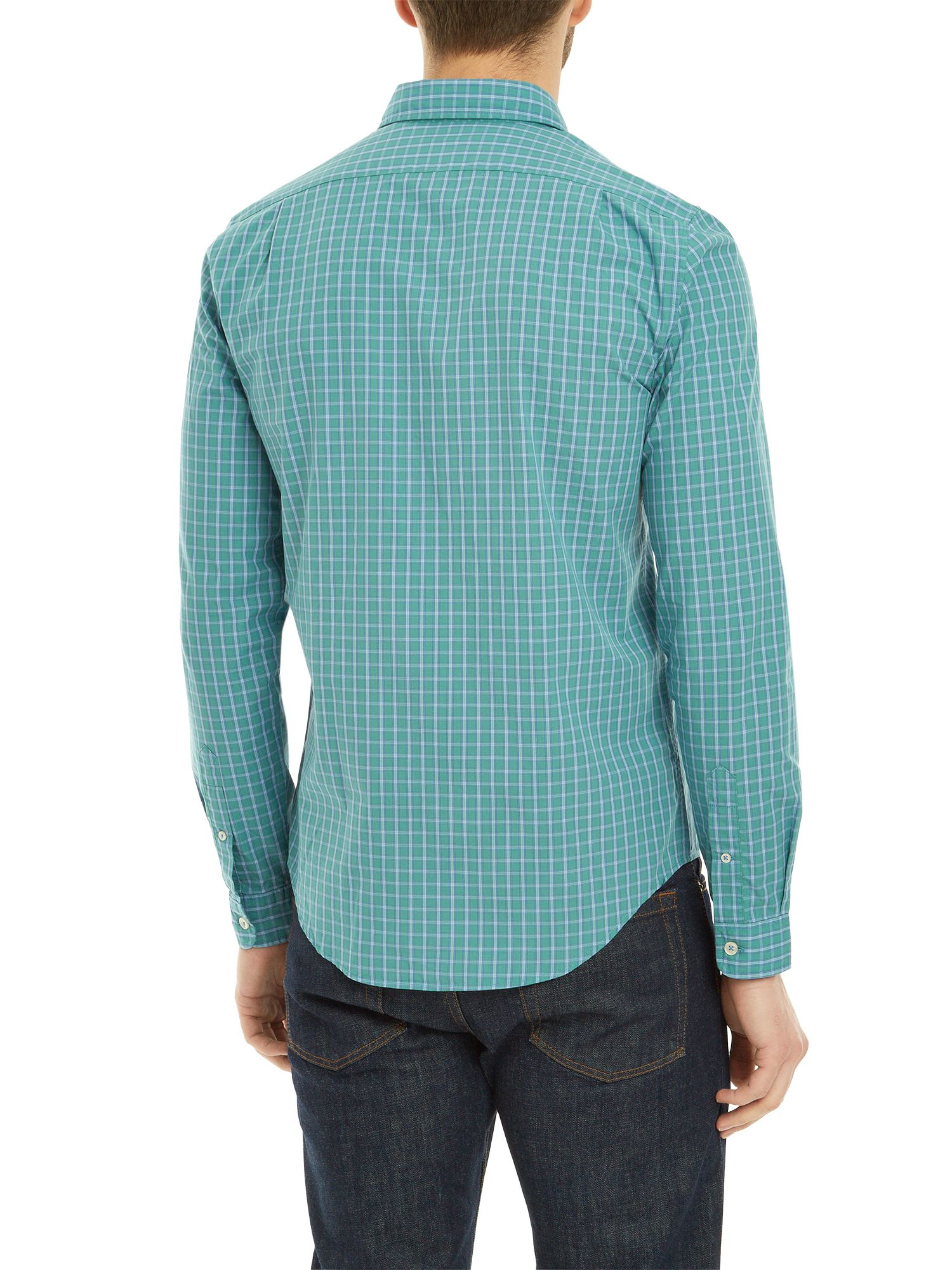 Lyst lacoste slim fit button down check shirt in green for Athletic fit button down shirts