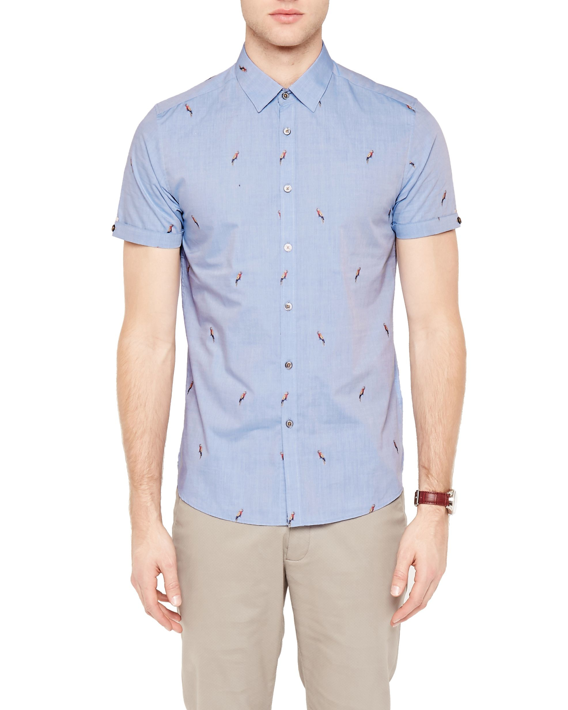 Ted baker parroti parrot print cotton shirt in blue for for Ted baker blue shirt