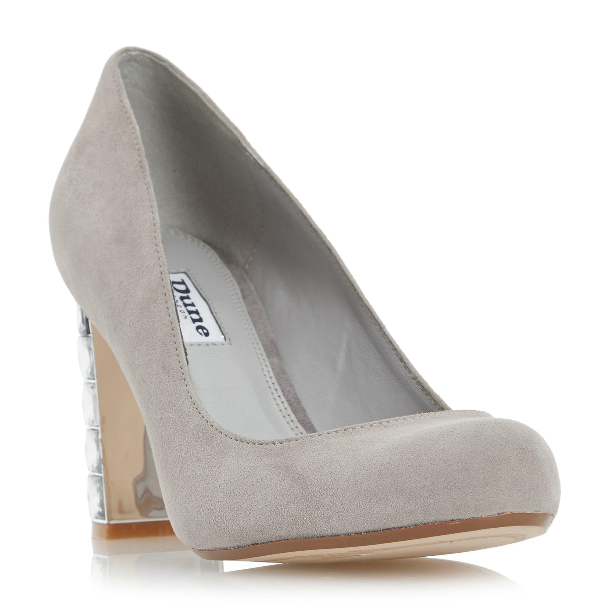 Black Designer Court Shoe With High Block Heel