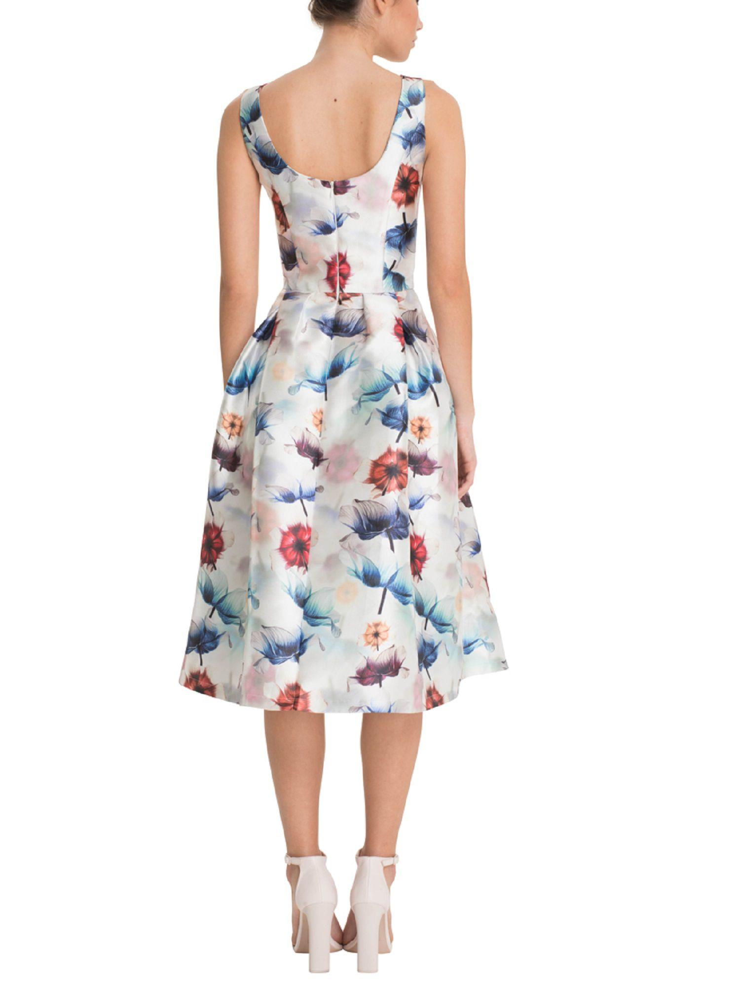 Satin Maxi Dress With Bird Design