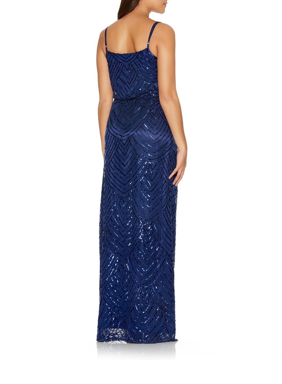 Lyst Quiz Navy Sequin V Neck Strappy Dress In Blue