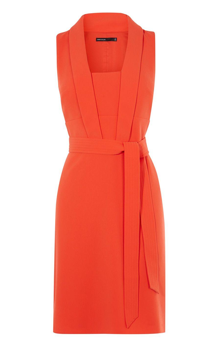 millen tie belt dress in orange lyst