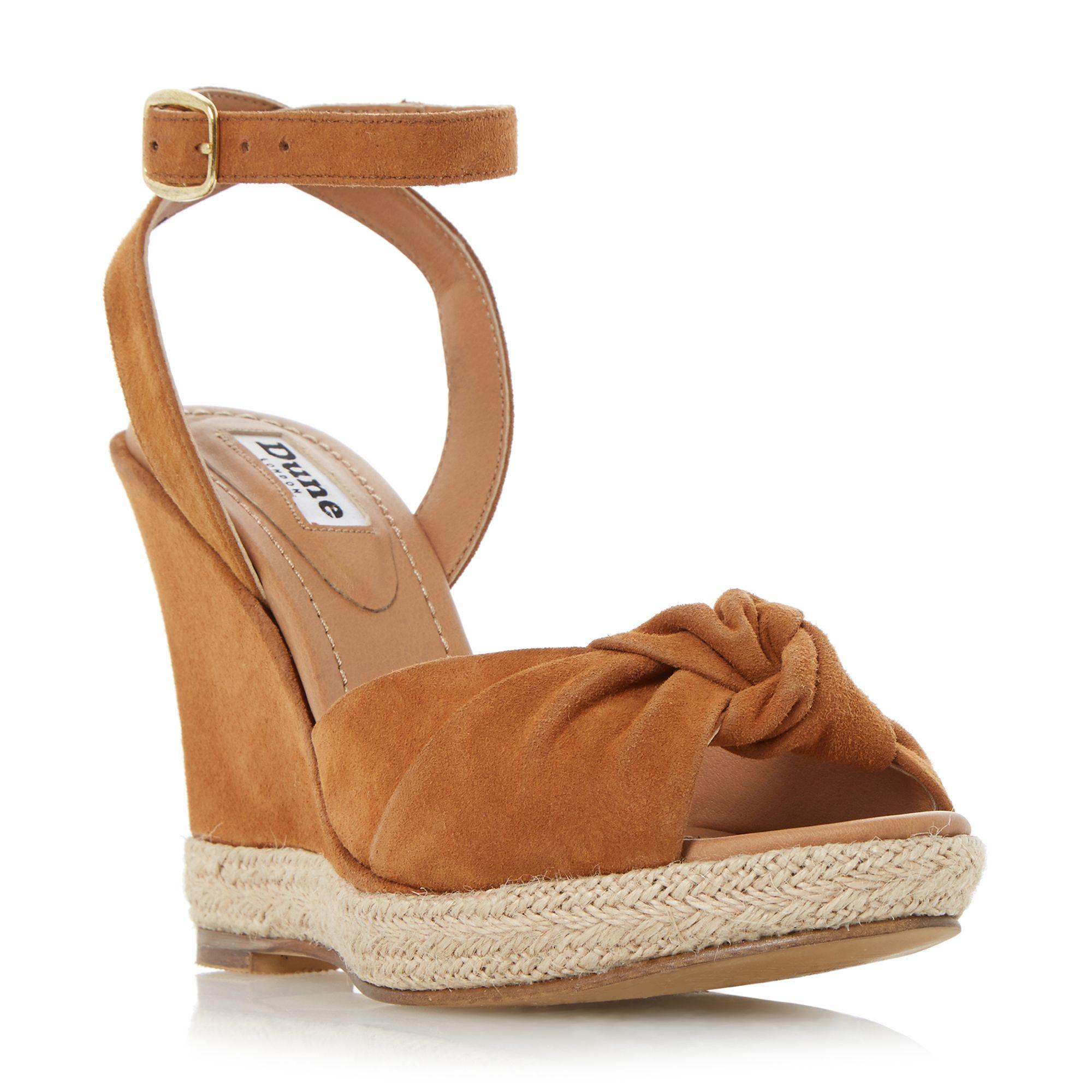 dune kliffton knot espadrille wedge sandals in brown lyst