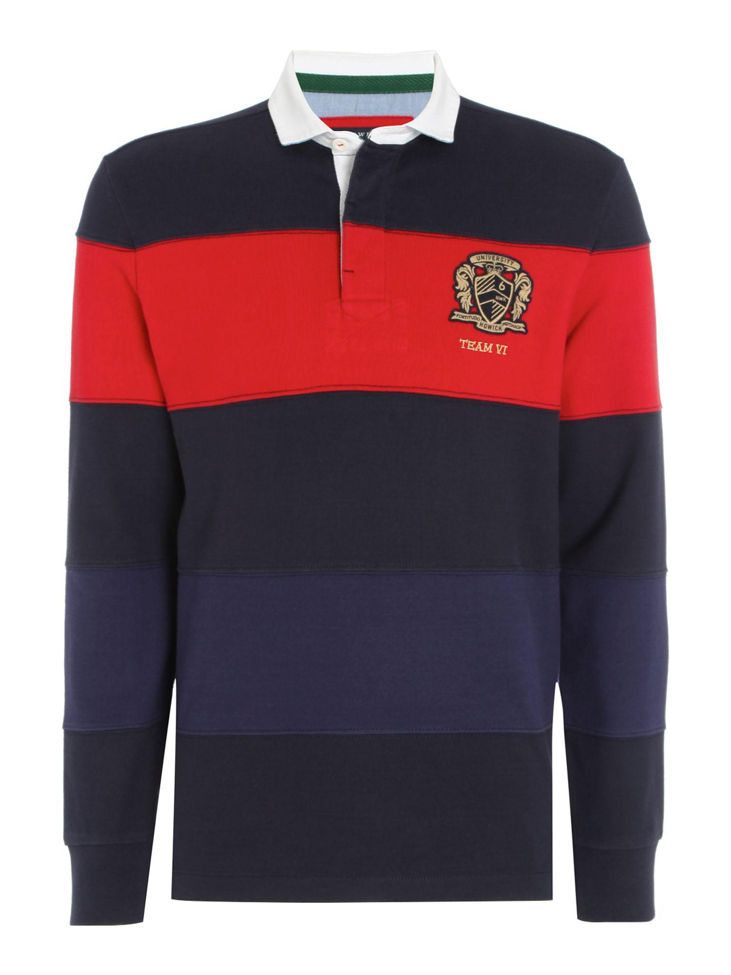 Lyst howick belford cut sew stripe long sleeve rugby for Long sleeve striped rugby shirt