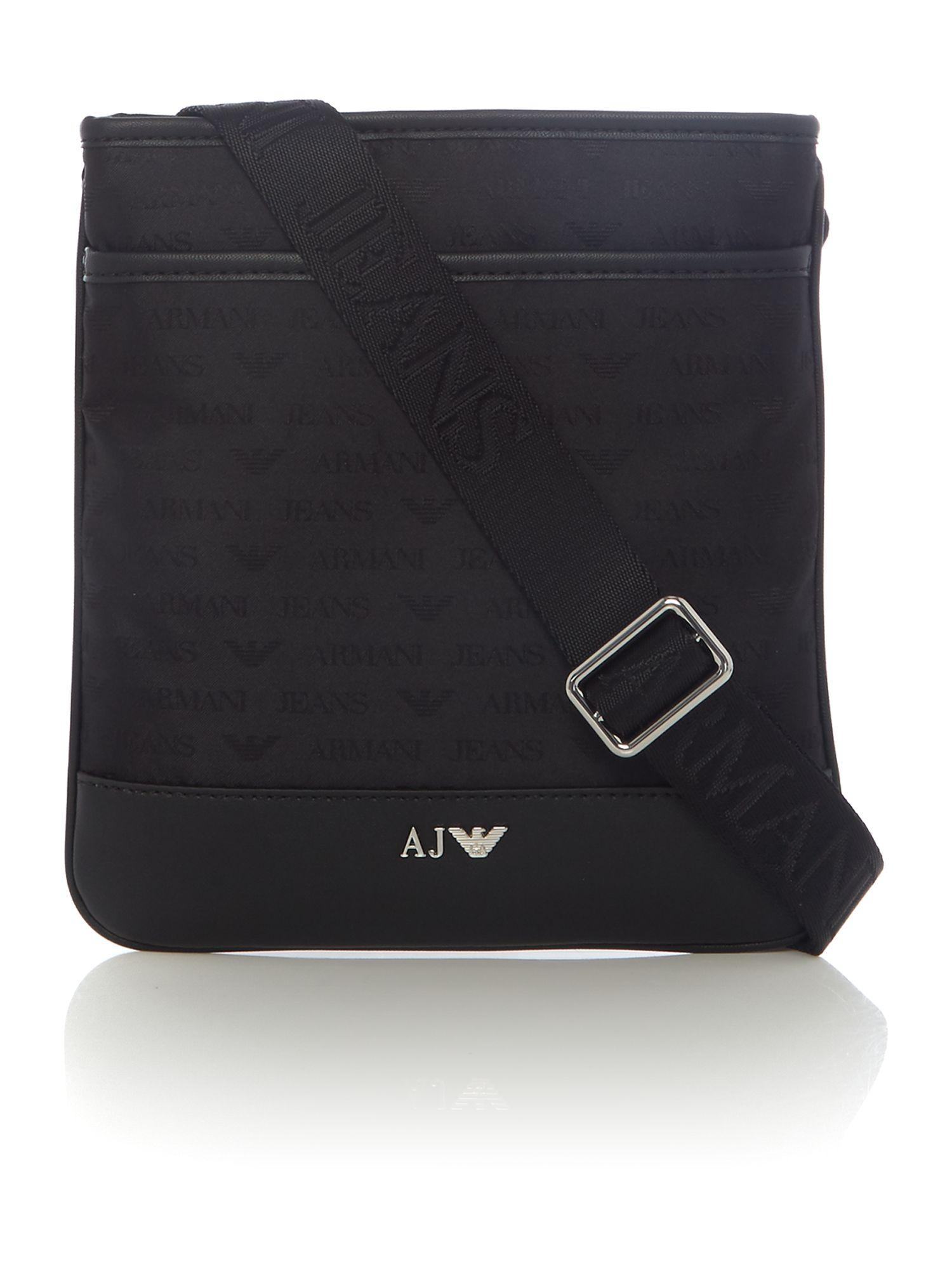 Armani Jeans All Over Logo Jaquard Cross Body In Black For