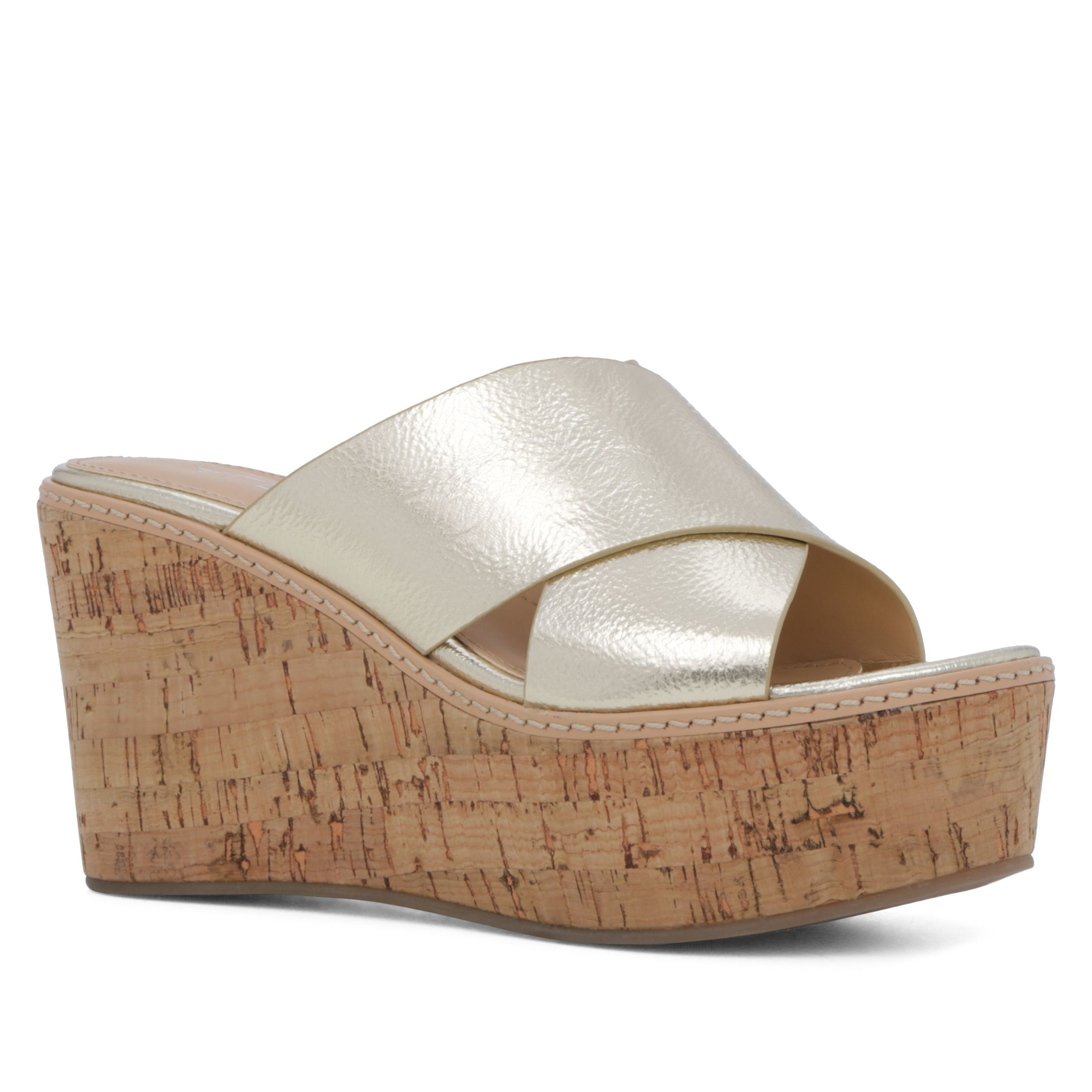 aldo lateefa wedge sandals in metallic lyst