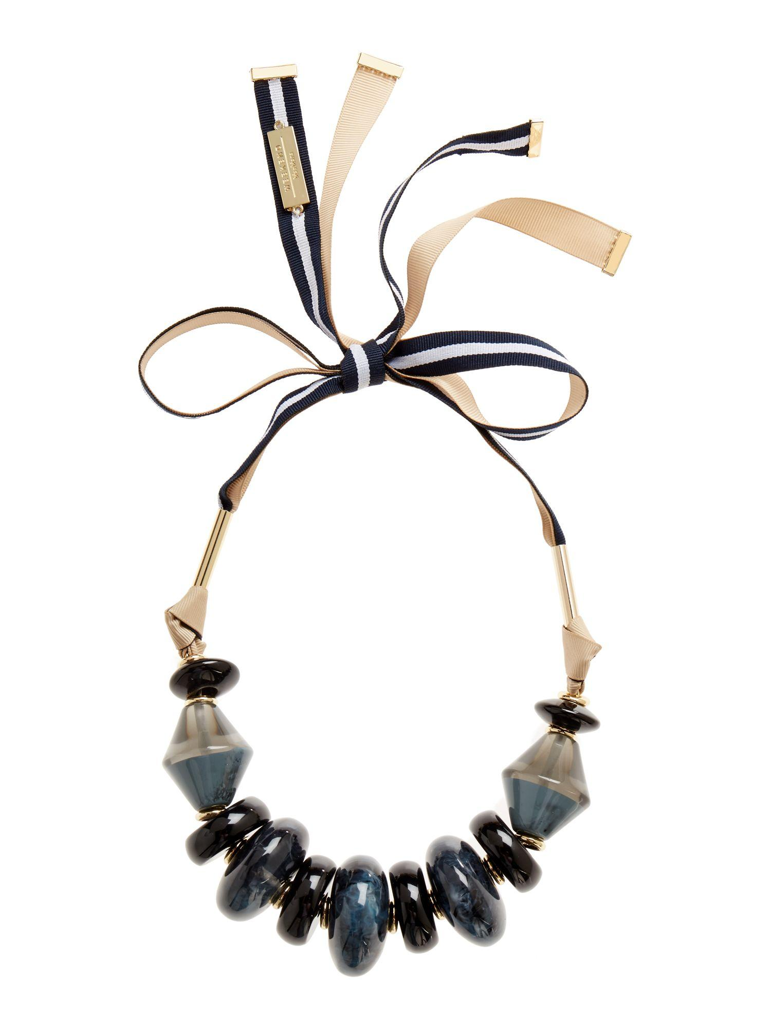 Lyst max mara pavento large beaded ribbon tie necklace for Ribbon tie necklace jewelry