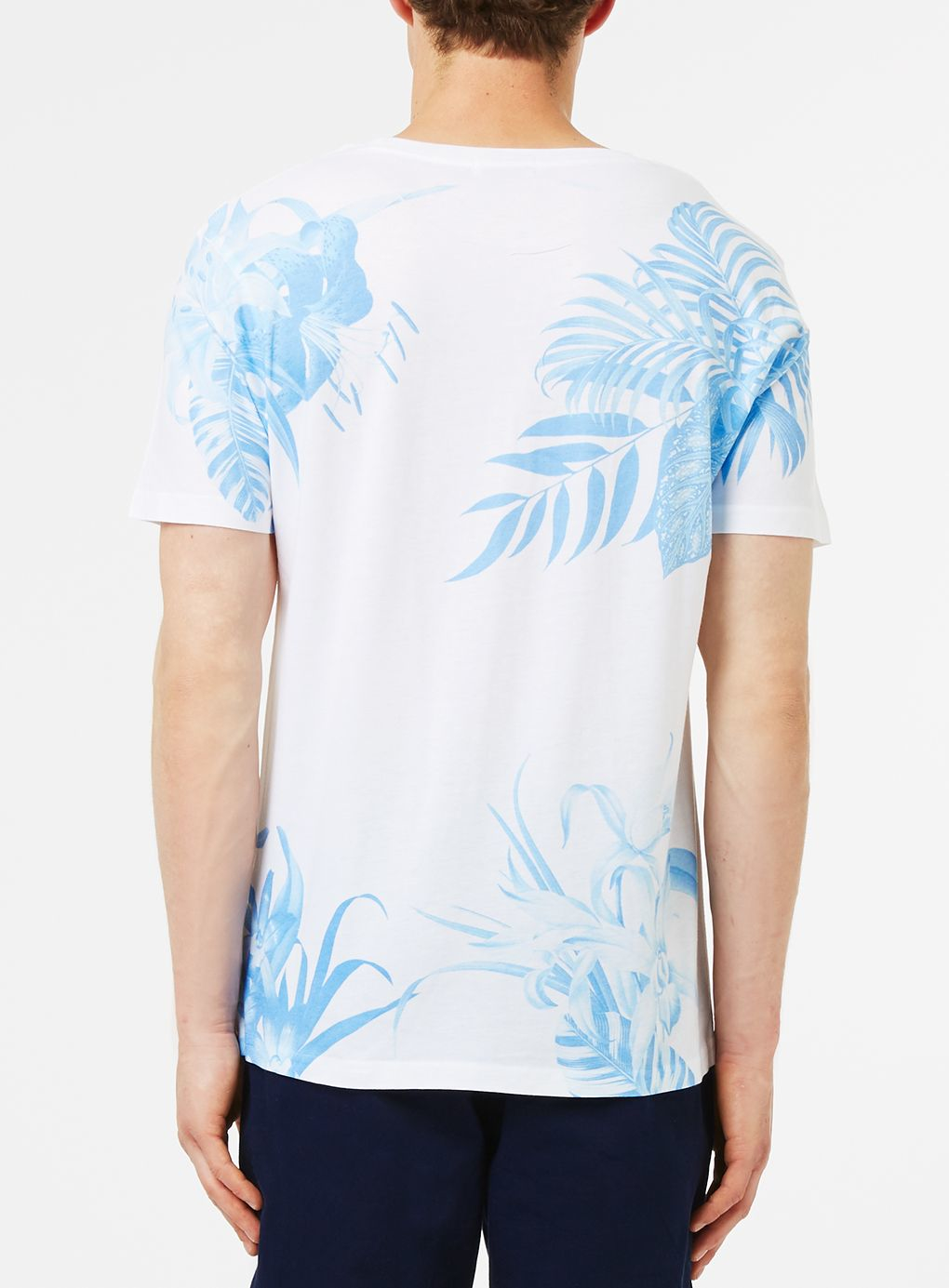 Lyst topman white blue floral print t shirt in white for men for Blue floral shirt mens