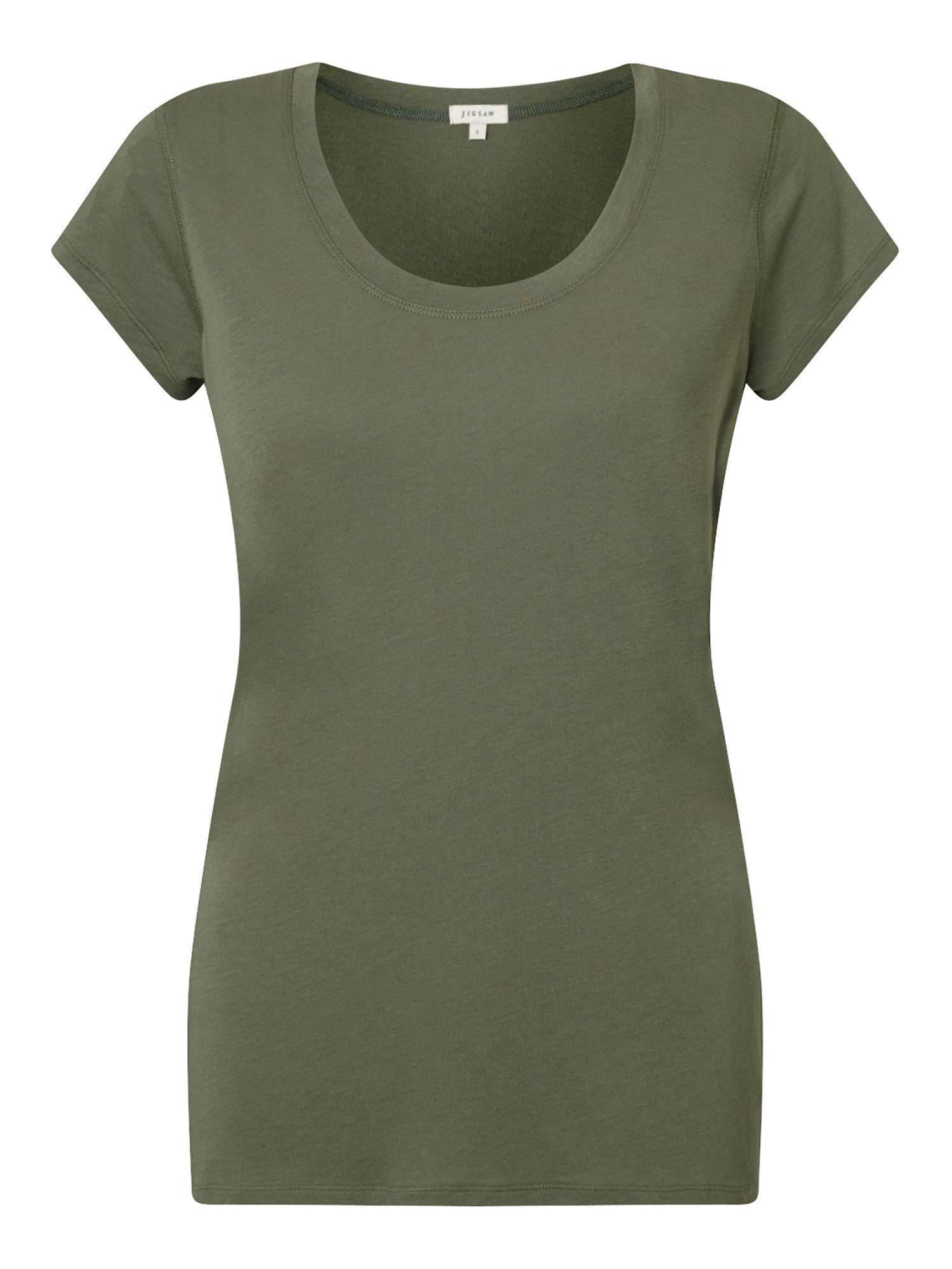Jigsaw pima cotton tee in green lyst for Pima cotton tee shirts