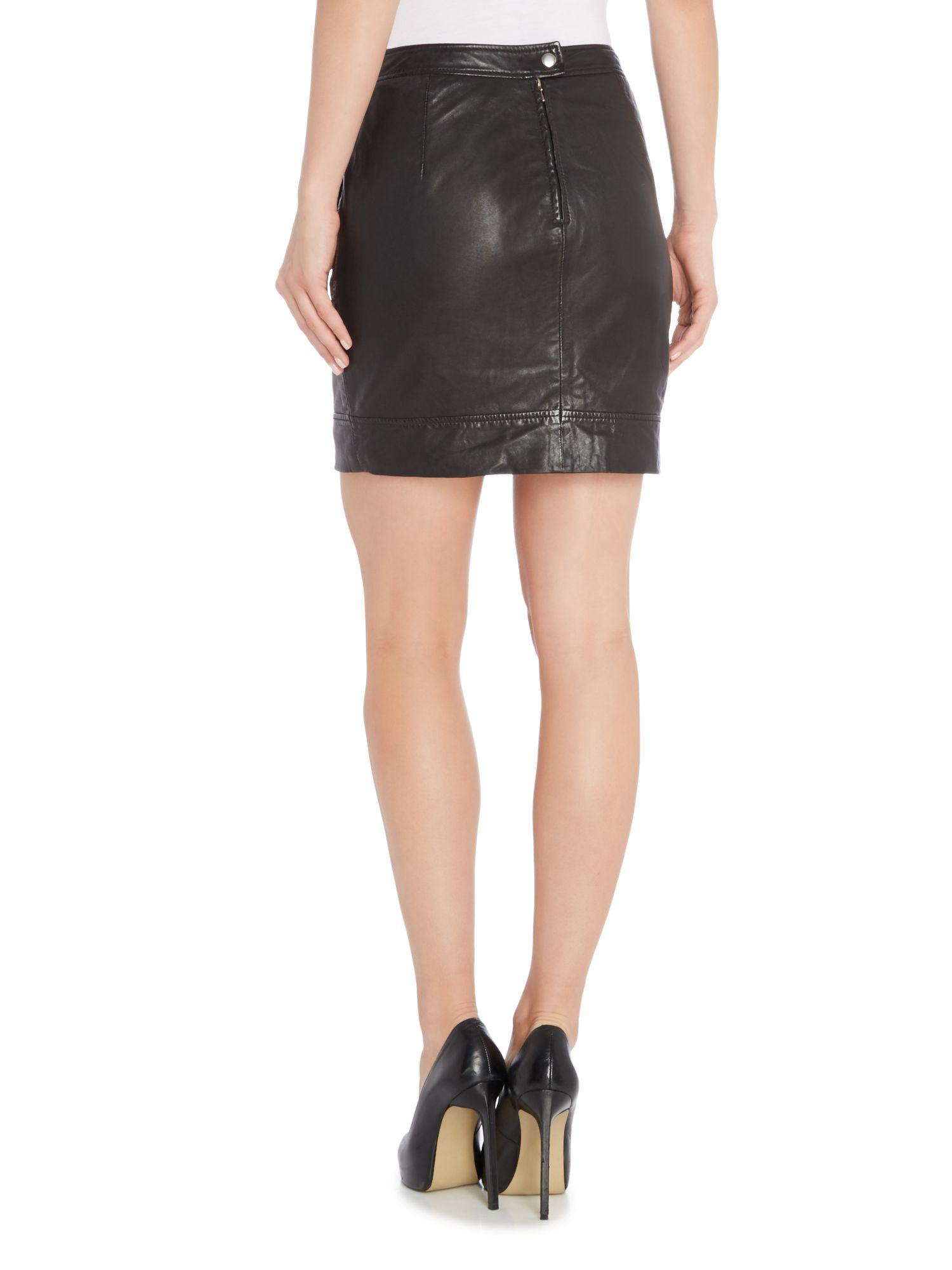 bardot leather mini skirt in black lyst