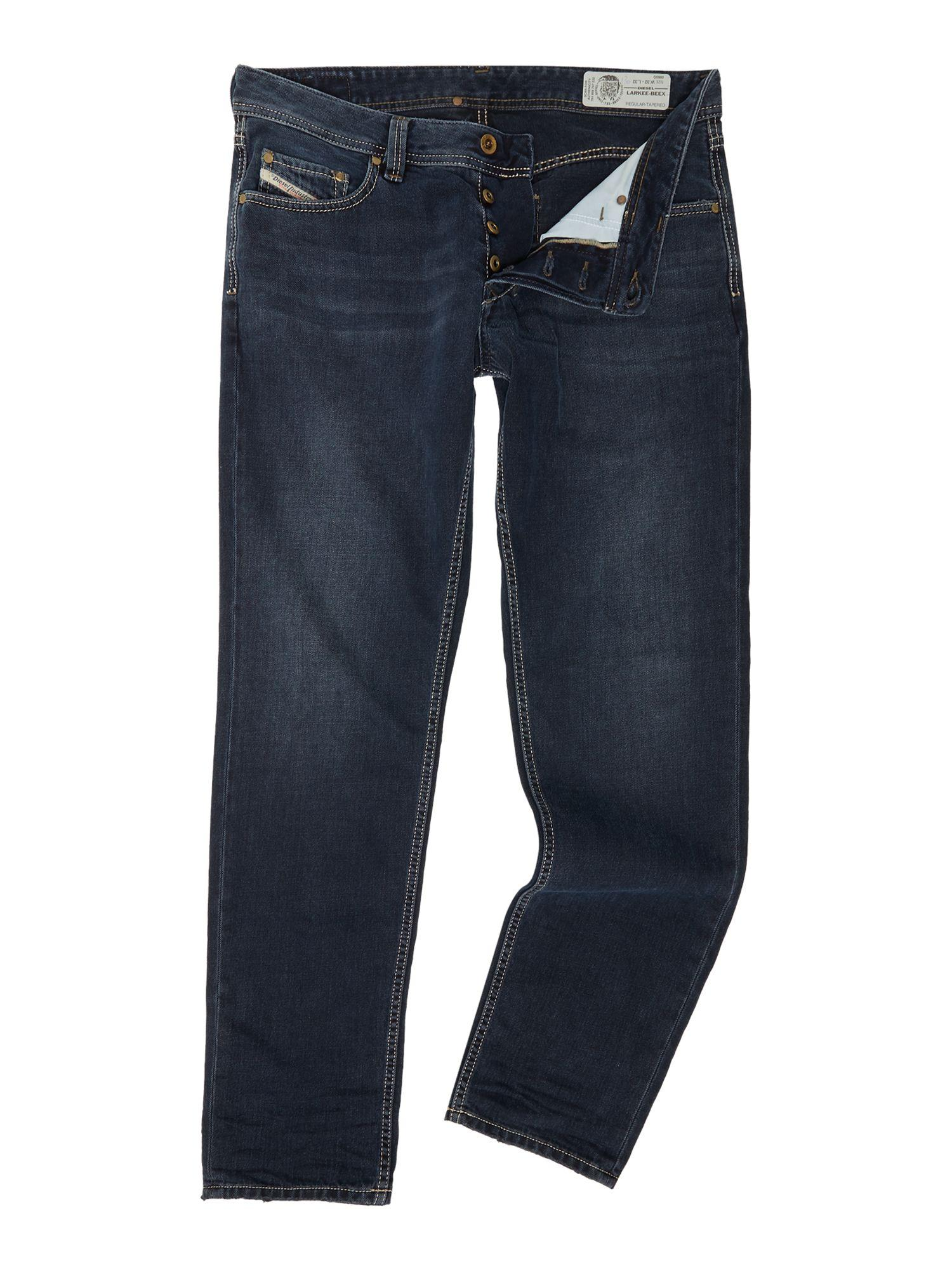 Diesel Larkee-beex Stretch Distressed Tapered Jeans in ...
