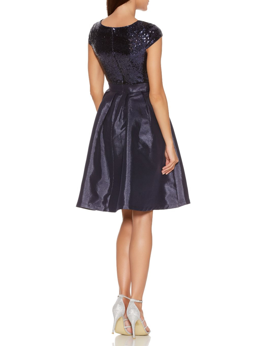 Quiz Navy Sequin Cap Sleeve Satin