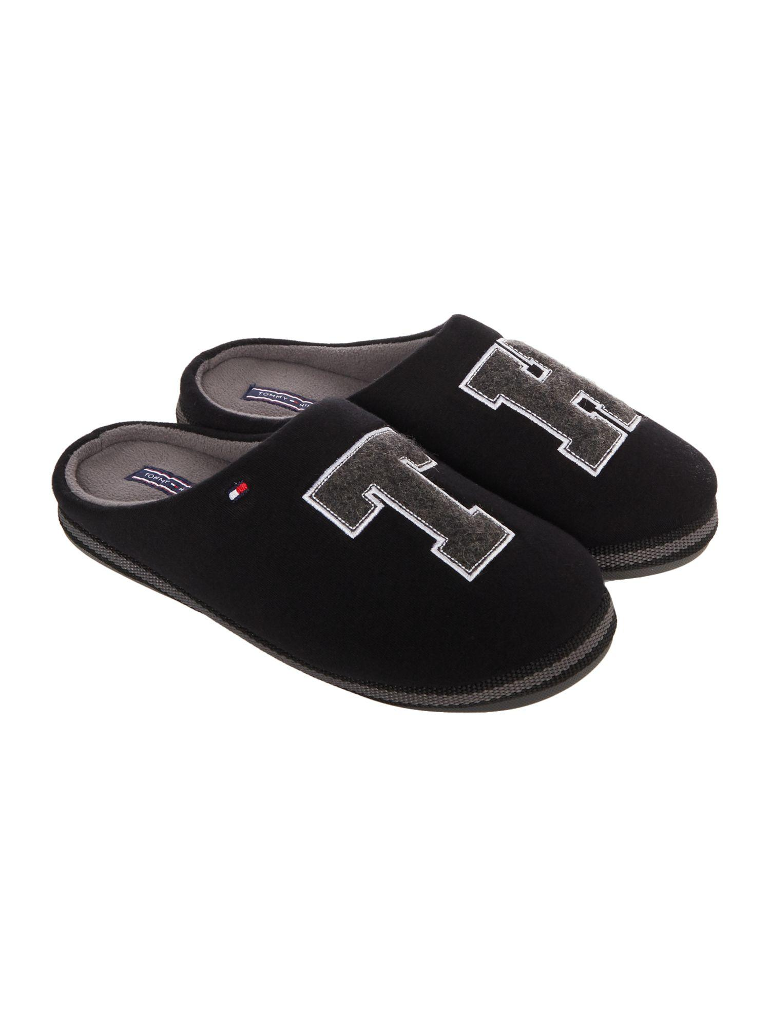 tommy hilfiger large logo slipper in black for men lyst. Black Bedroom Furniture Sets. Home Design Ideas
