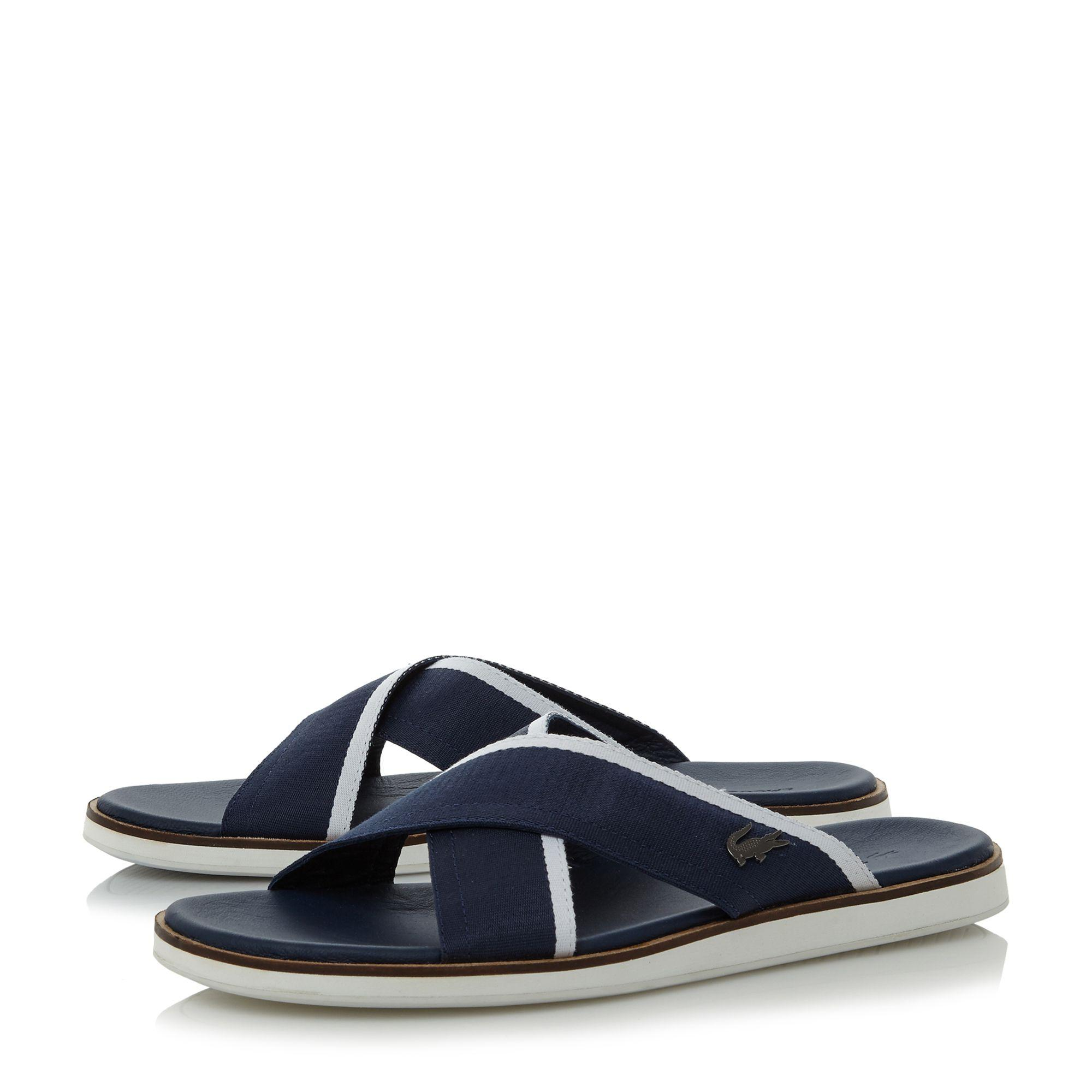 Lyst Lacoste Coupri Cross Strap Sandals In Blue For Men