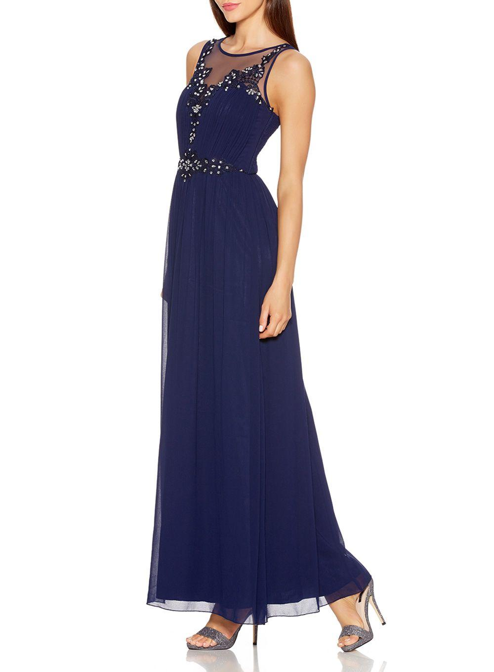 Quiz Navy Chiffon Embroidered Maxi Dress In Blue Lyst