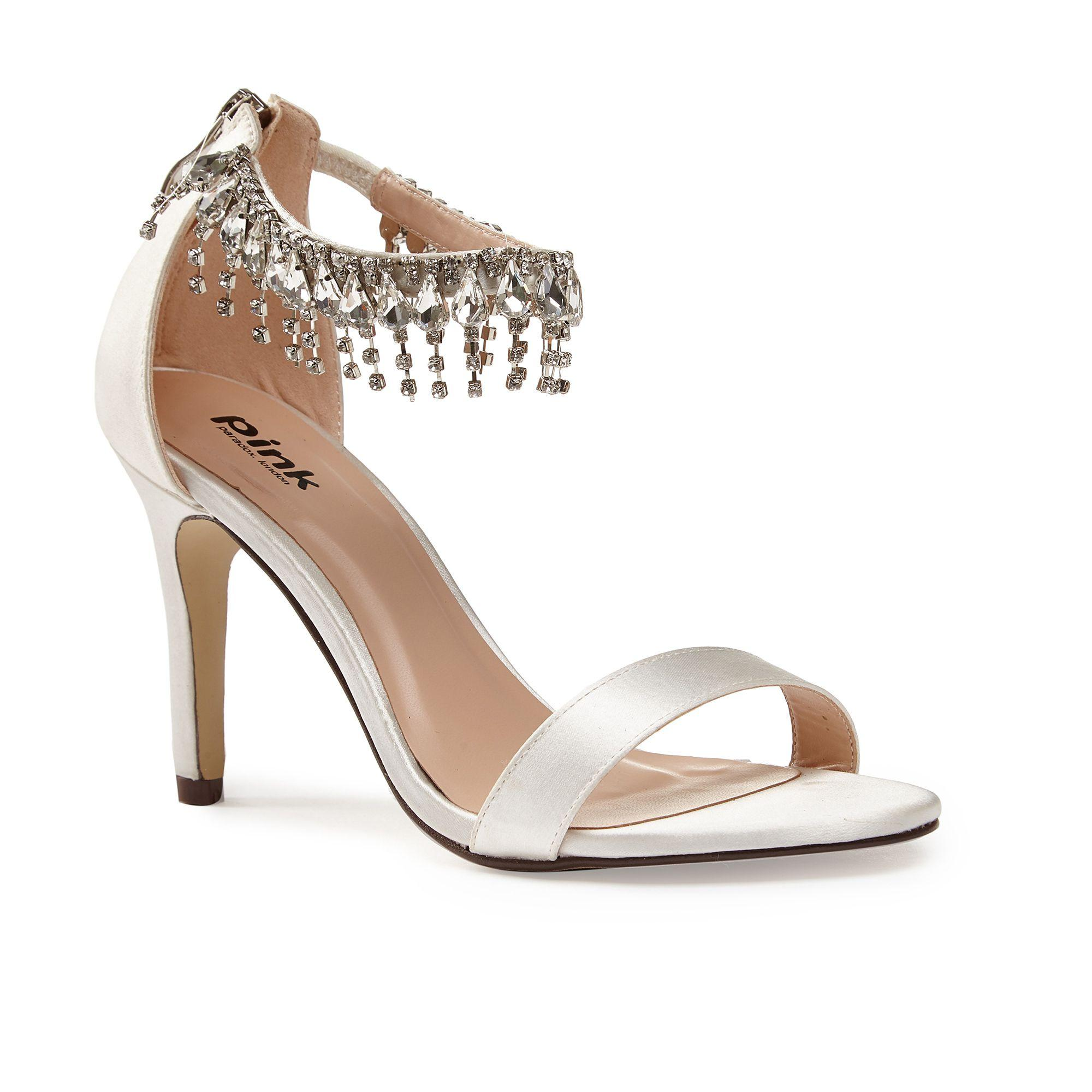 Paradox london pink Tamara Jewel Ankle Strap Satin Sandals | Lyst