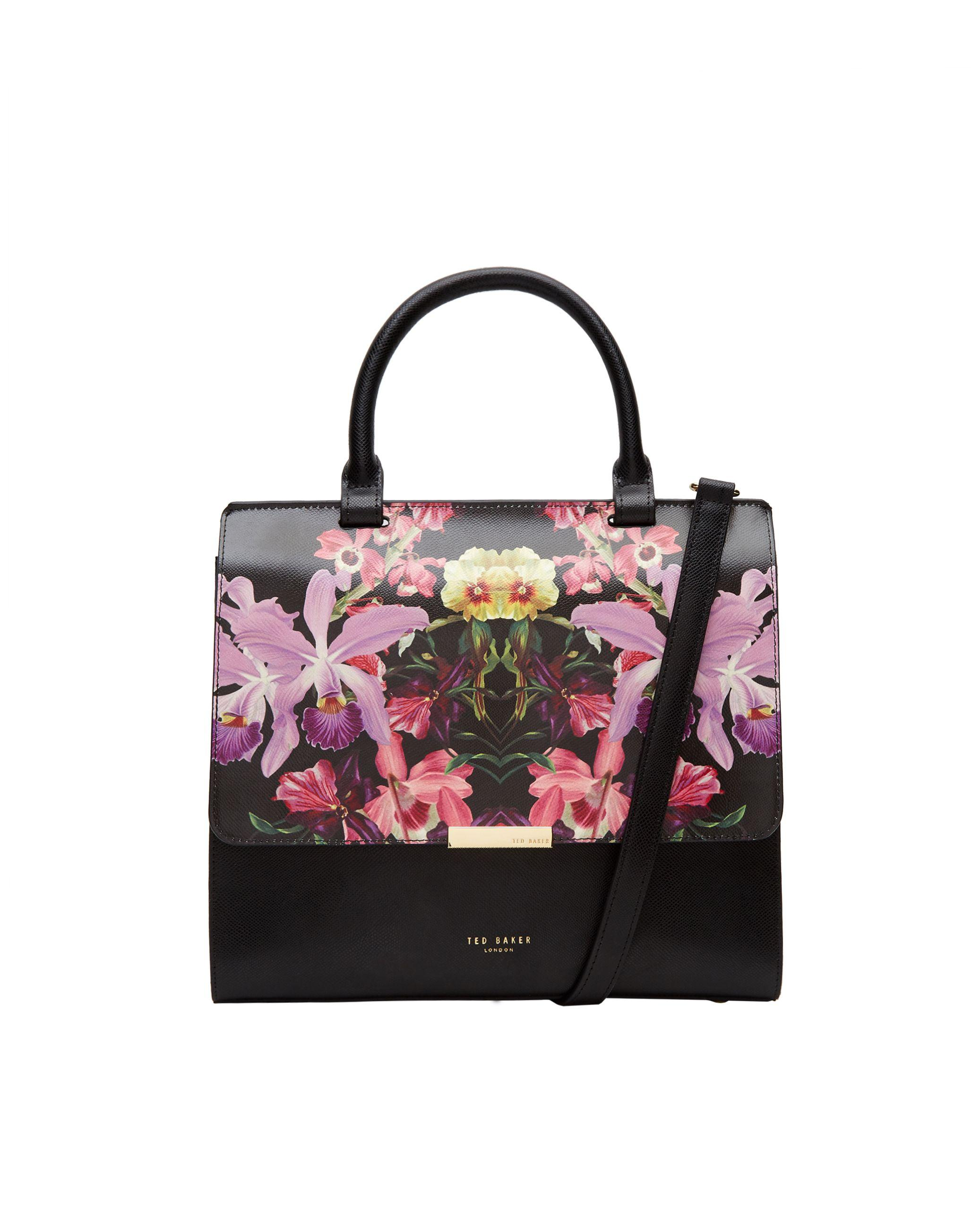 Ted baker Nimaa Lost Gardens Medium Leather Bag in Black ...