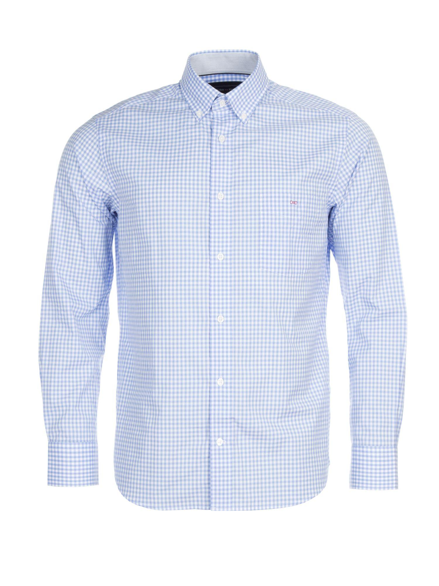 Eden park gingham cotton shirt in blue for men lyst for Mens blue gingham shirt