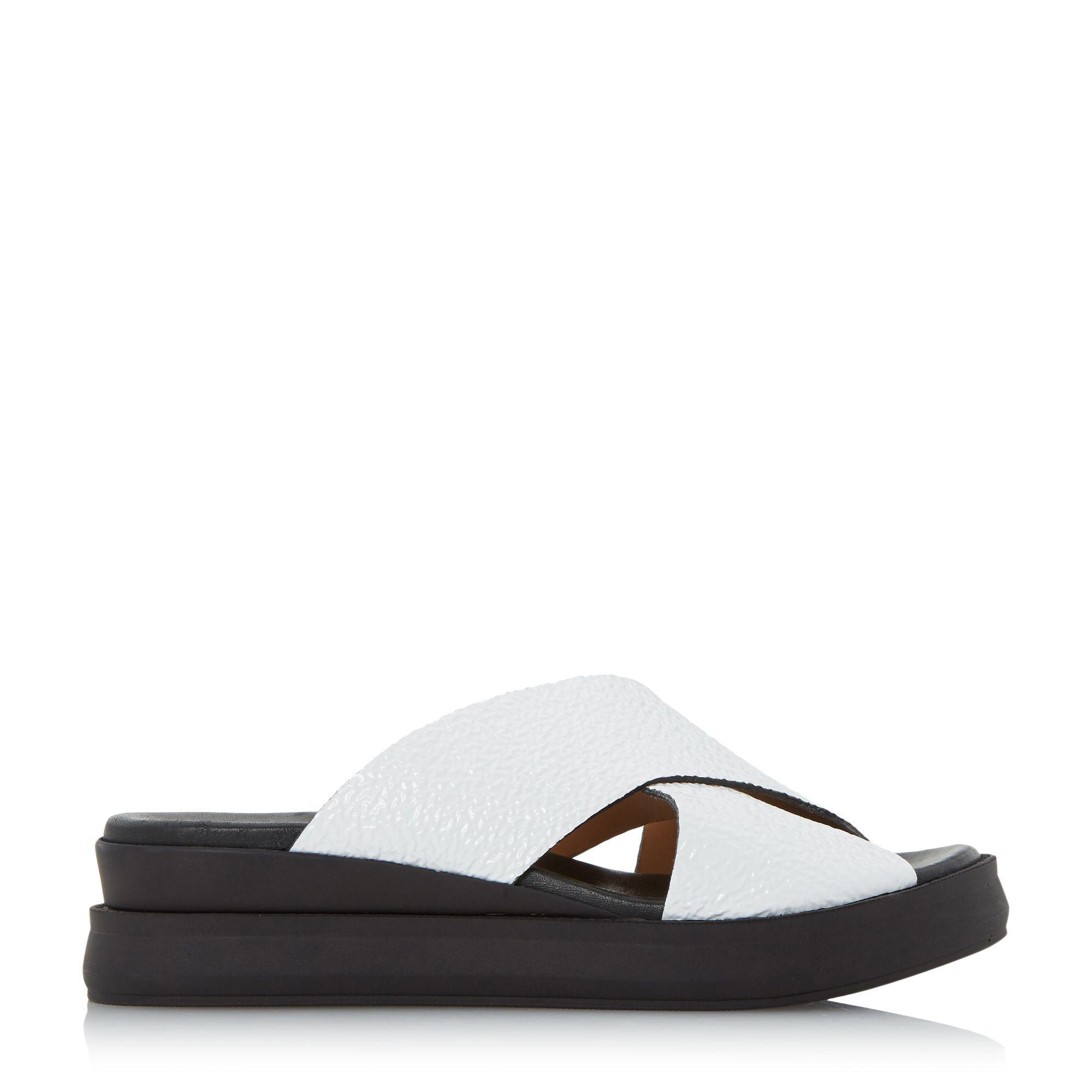 Dune Black Lust Cross Vamp Slider Sandals In White Lyst
