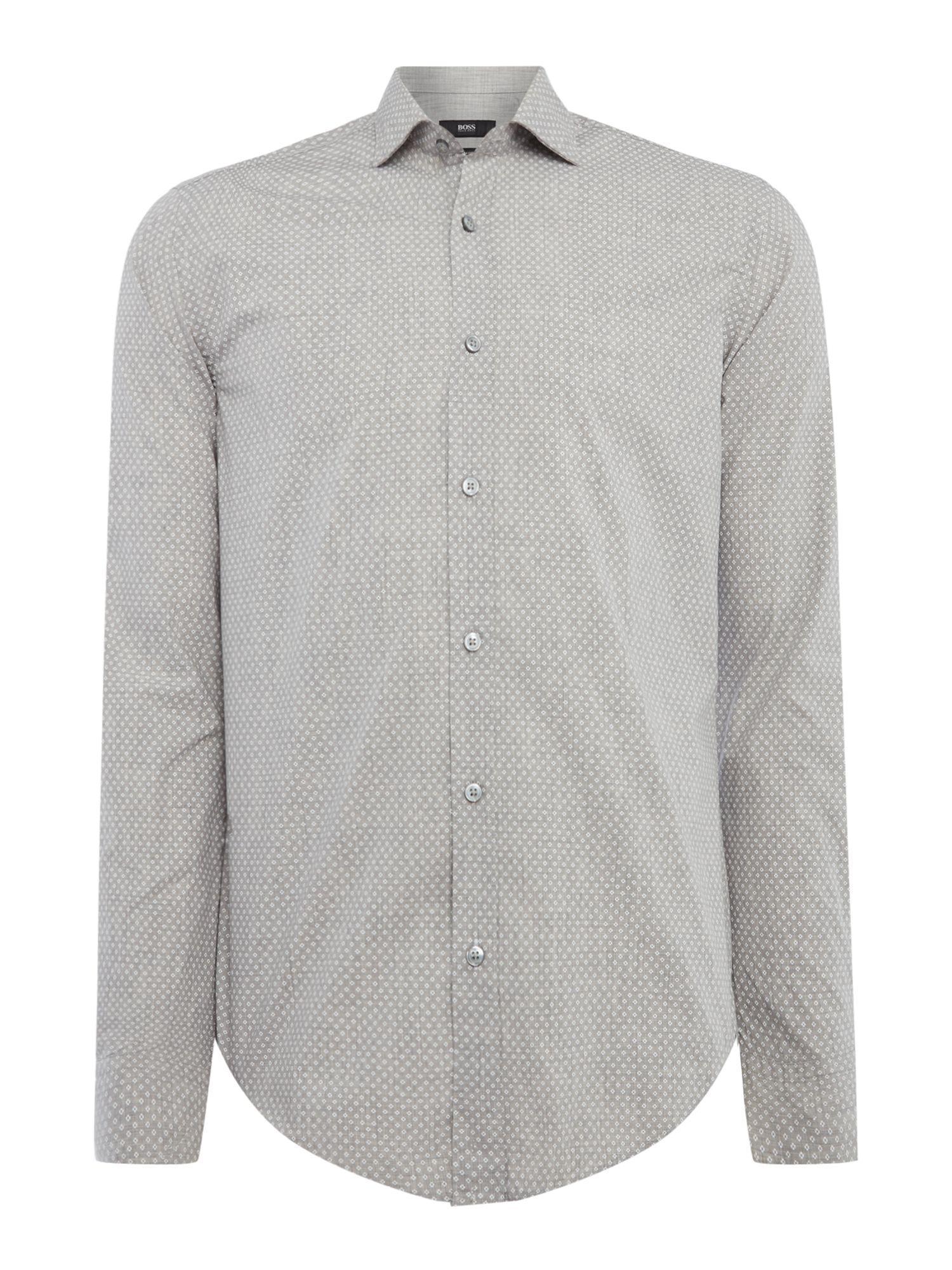 BOSS. Gray Men's Ridley 33 Geo Dots Slim Fit Shirt
