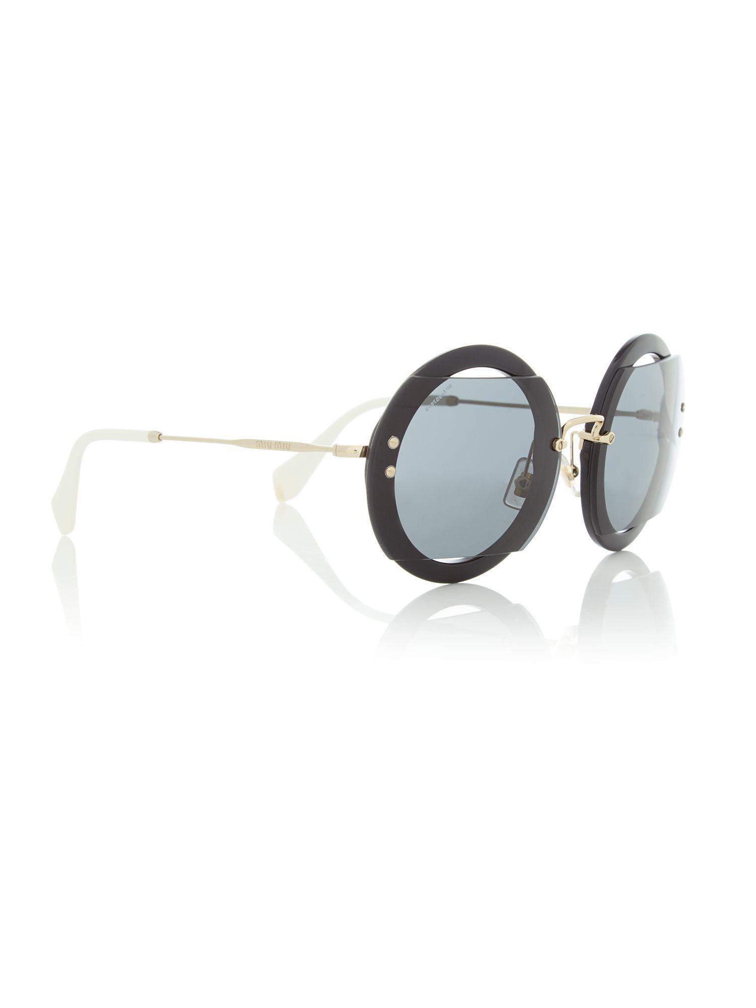 faeb31fde72 Miu Miu Black Mu 06ss Round Sunglasses in Black - Save 21% - Lyst