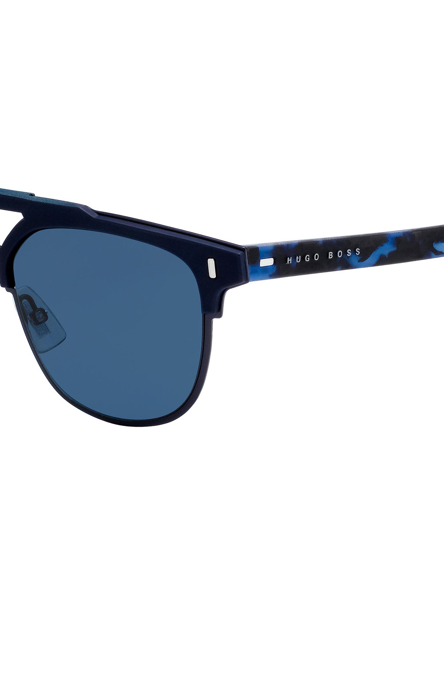 2a882321cedb BOSS Matt-blue Sunglasses With Rubberised Havana Temples in Blue for ...