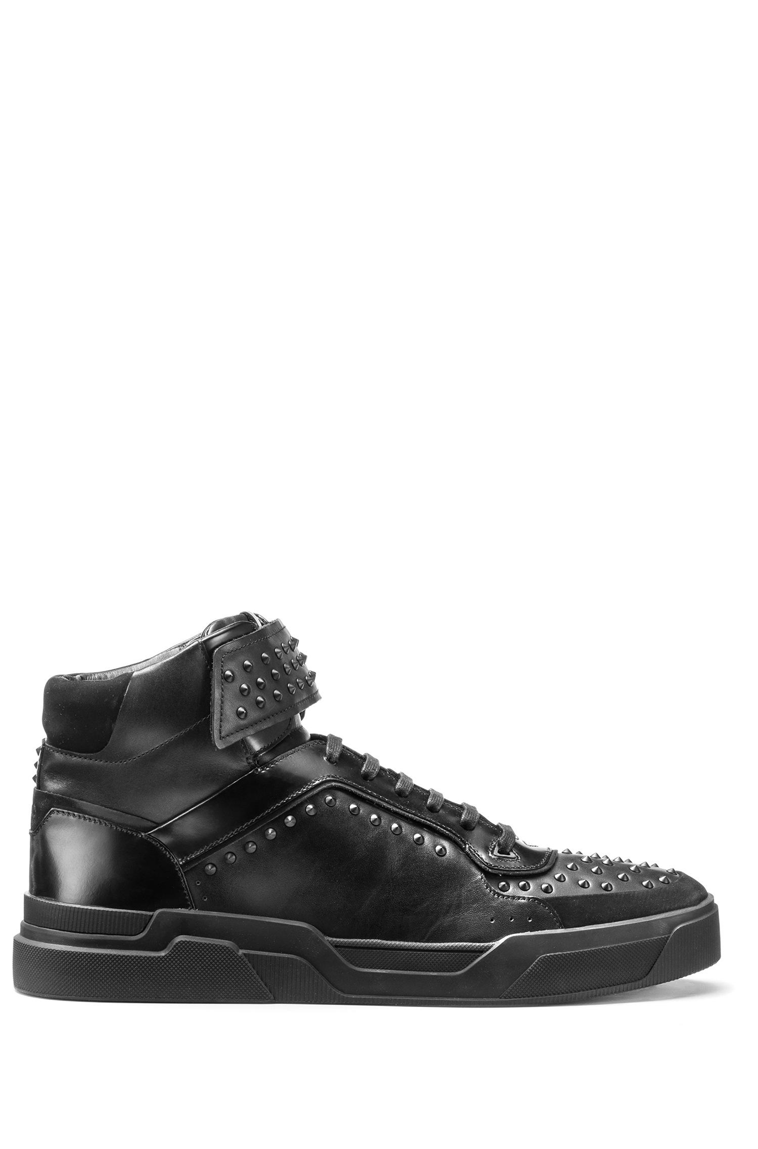 Studded high-top trainers in nappa leather HUGO BOSS GEhsrh