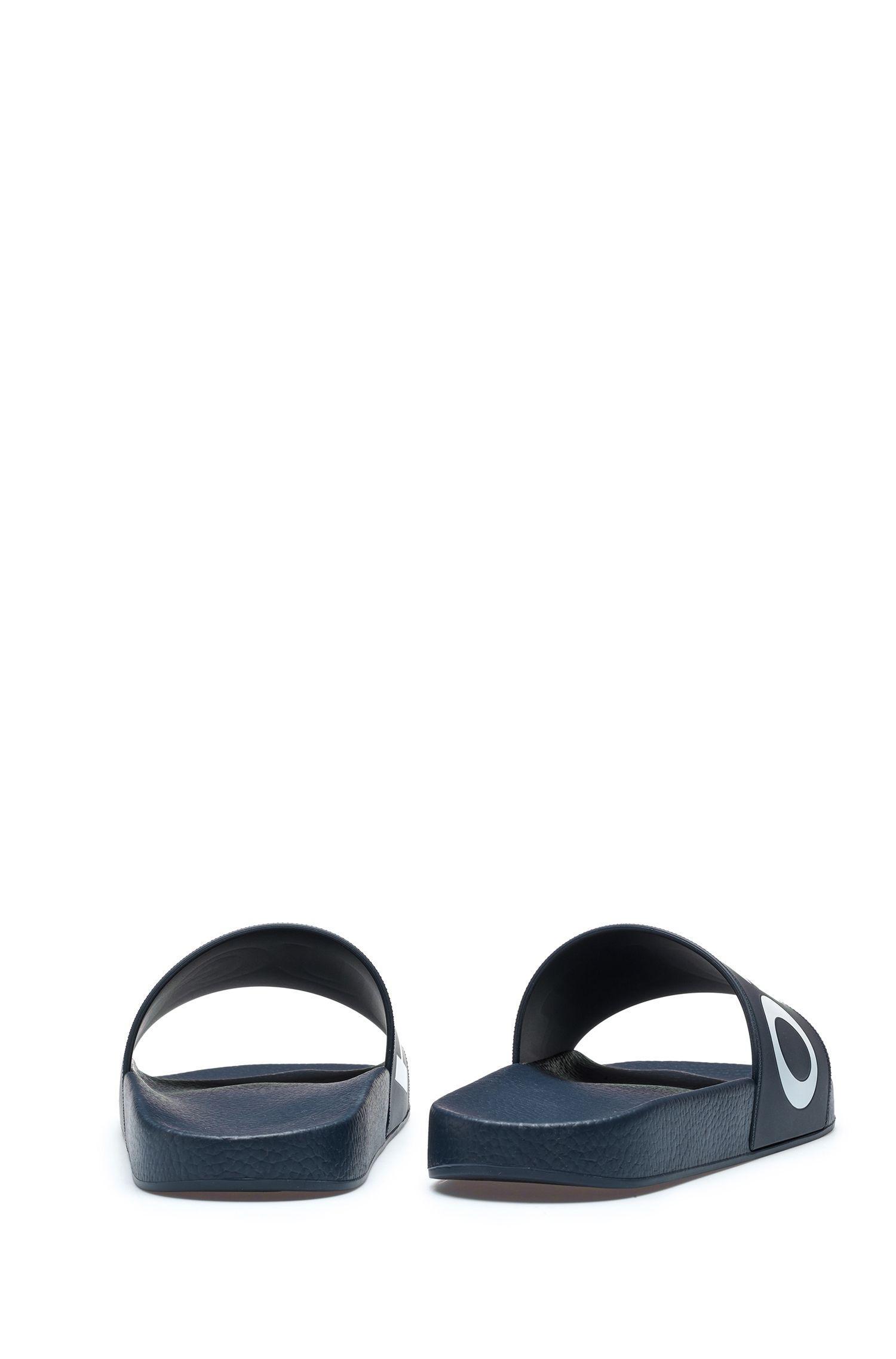 d23b03926a9 HUGO - Blue Reverse-logo Pool Slider Sandals for Men - Lyst. View fullscreen
