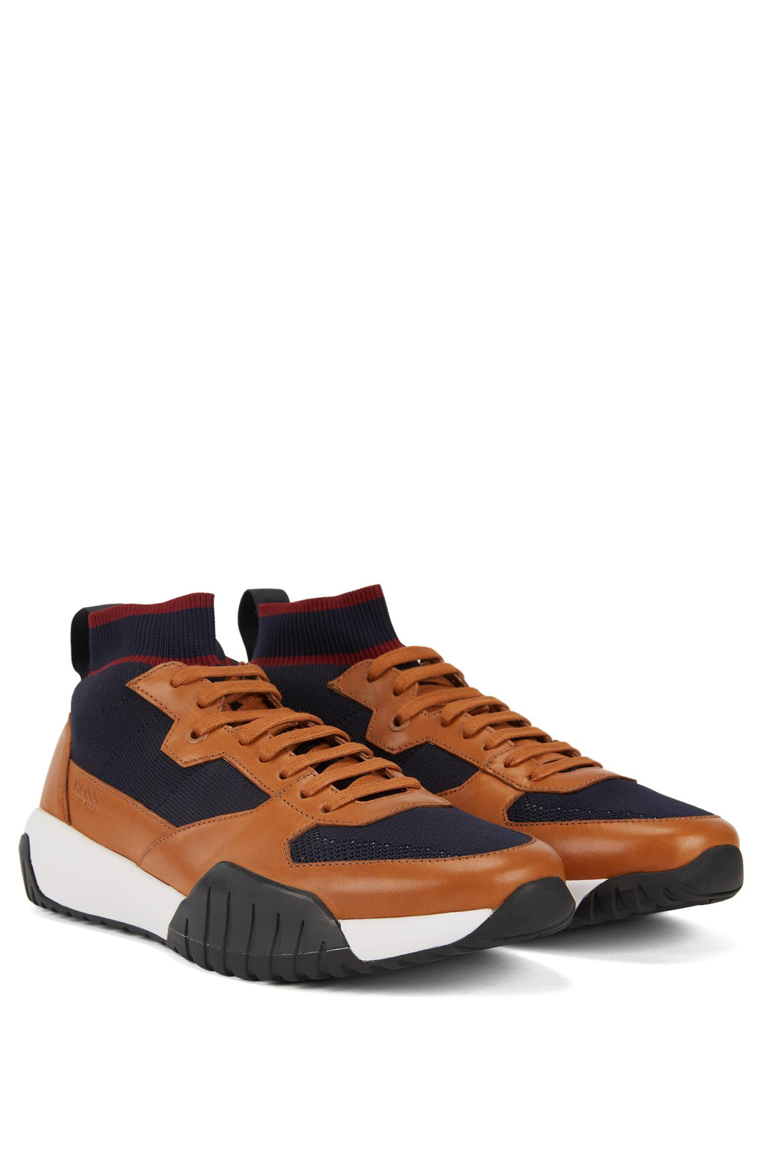 a3e7305a992 BOSS - Multicolor High-top Sock Sneakers With Calf-leather Trims for Men -.  View fullscreen