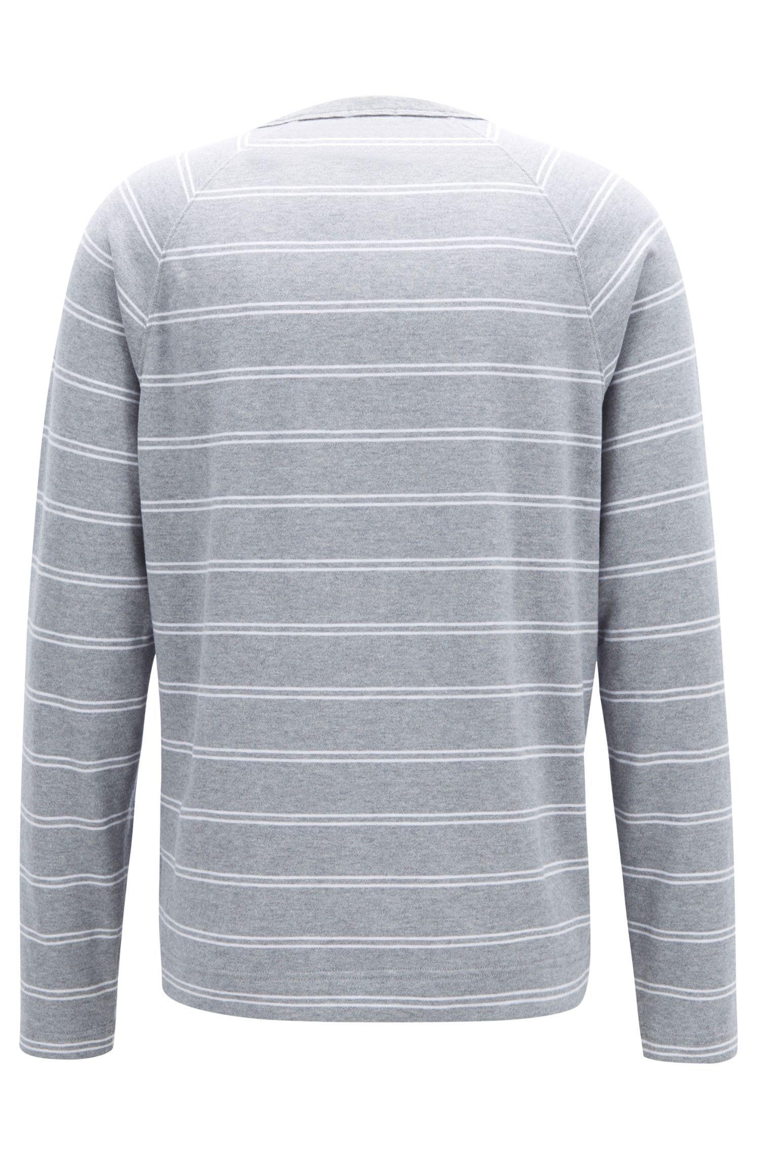 4c00e372e BOSS - Metallic Striped Long-sleeved T-shirt In Brushed Single-jersey  Cotton. View fullscreen