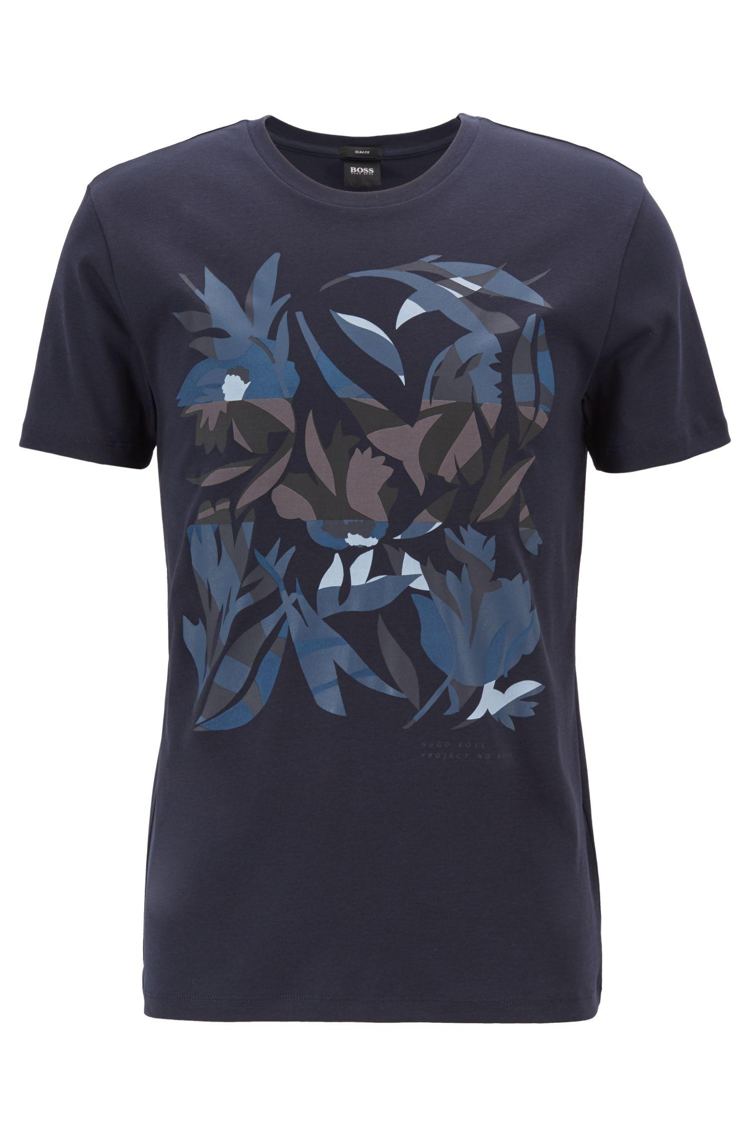 4e511d272 ... Blue Slim-fit T-shirt In Cotton With 3d-effect Print. Visit HUGO BOSS.  Tap to visit site