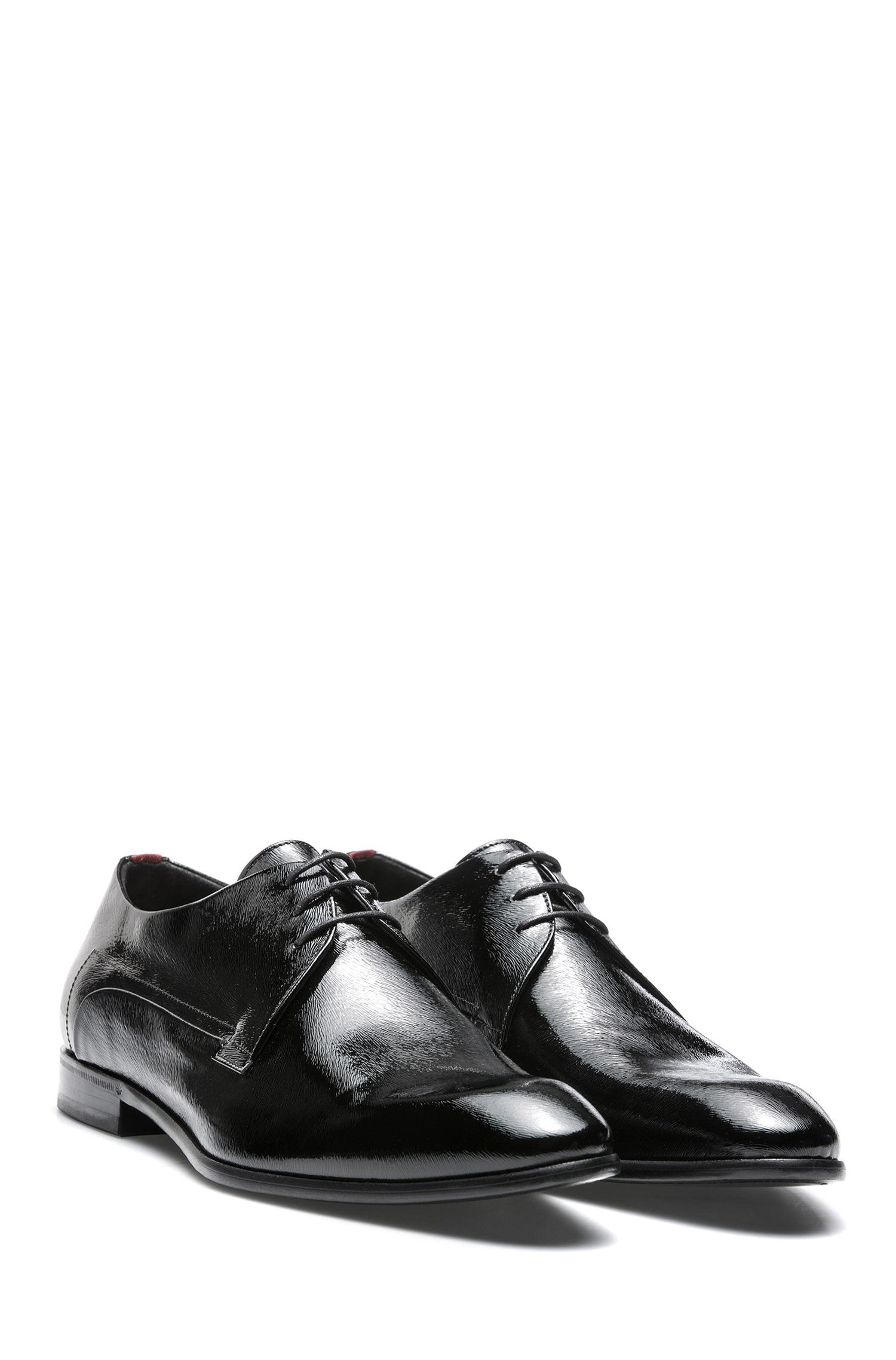 Leather-soled Derby shoes in pony-print patent leather HUGO BOSS OPbIBcUypX
