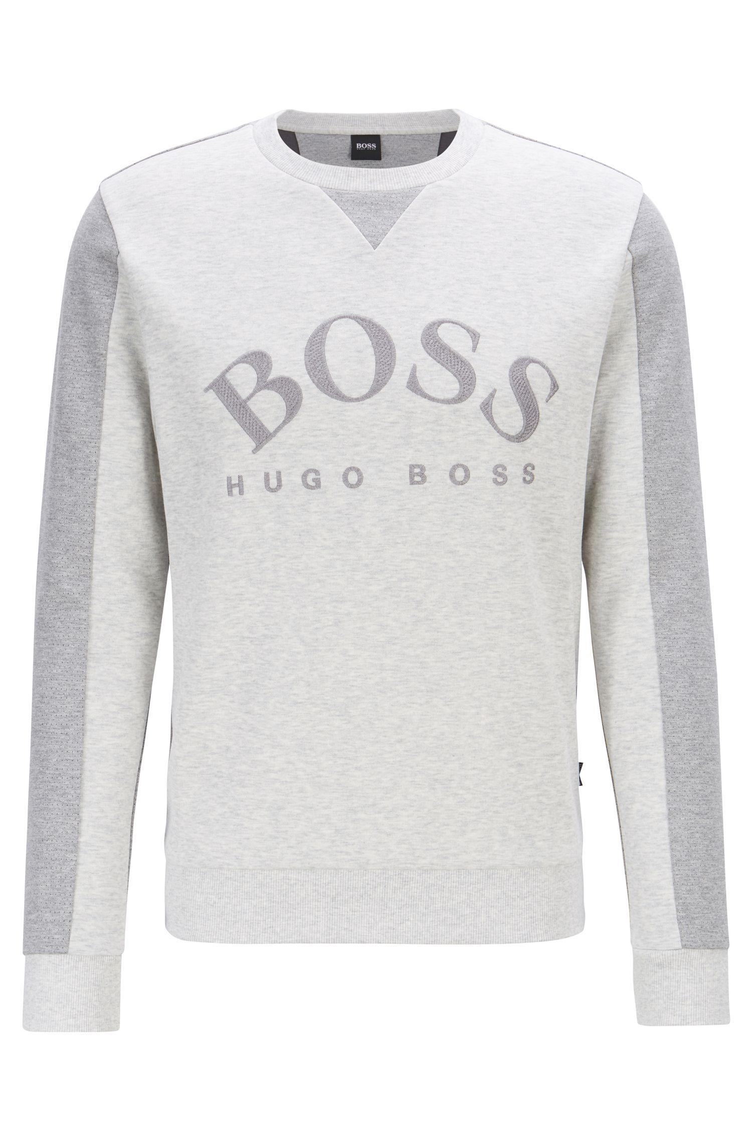 08cc0bd351 BOSS - Gray Mixed-material Slim-fit Sweatshirt With Curved Logo for Men -.  View fullscreen