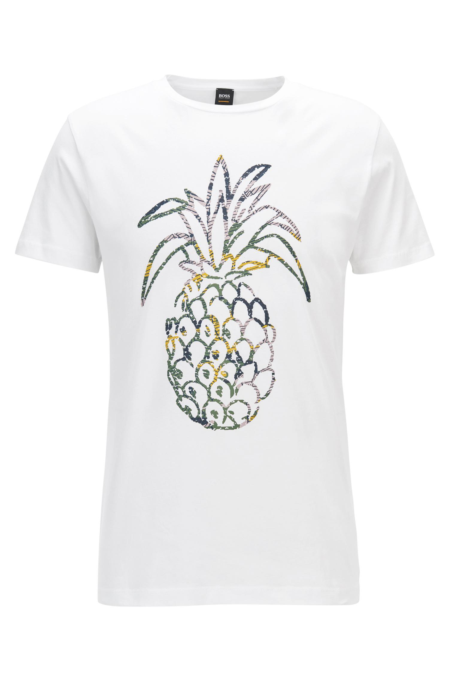 6f36bb27 BOSS Pineapple Cotton Jersey Graphic T-shirt | Tauno in White for ...