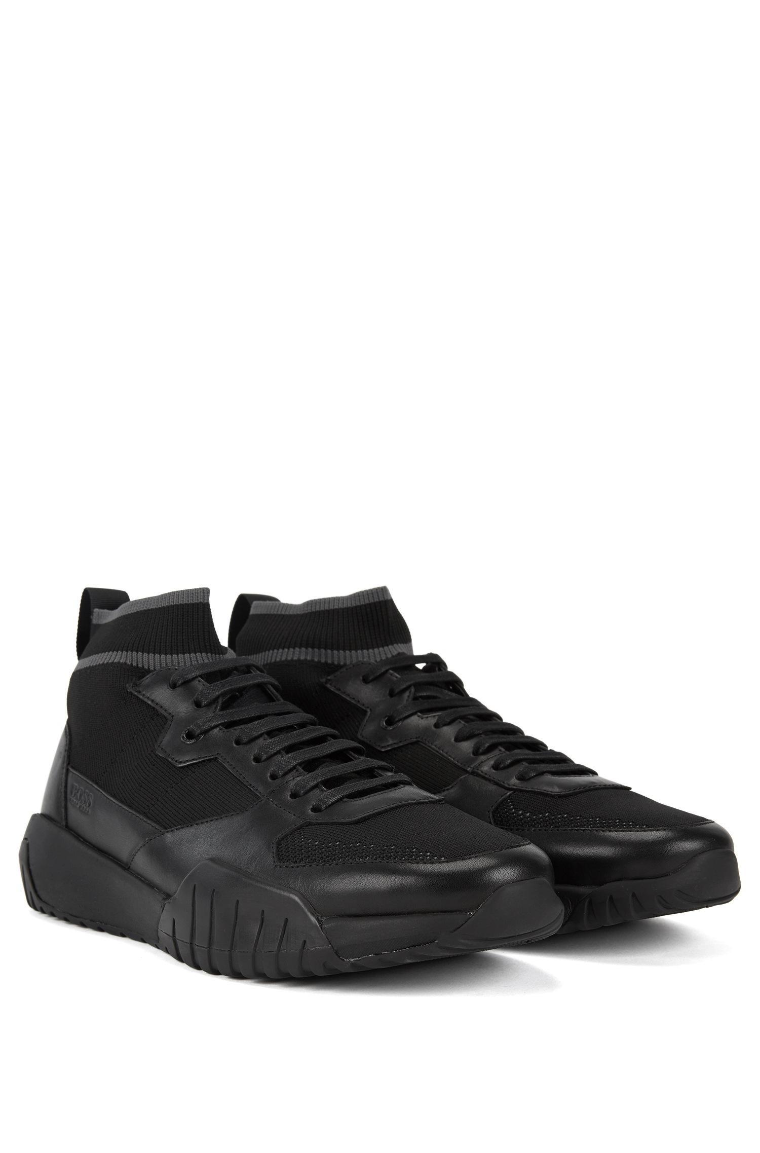 898de15e2f7 BOSS - Black High-top Sock Sneakers With Calf-leather Trims for Men -. View  fullscreen