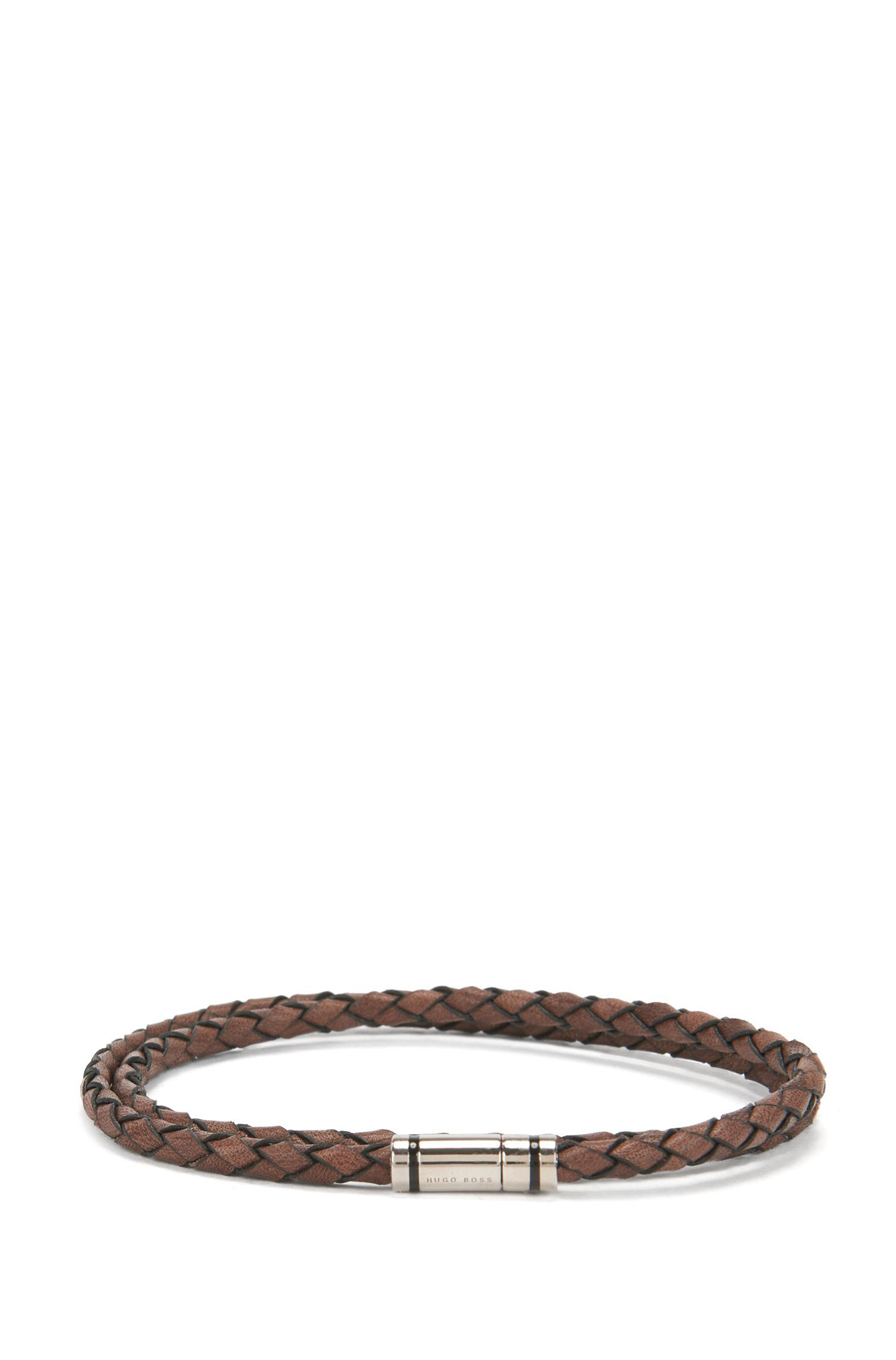 HUGO BOSS Braided leather bracelet with snap hook O9fbqBn