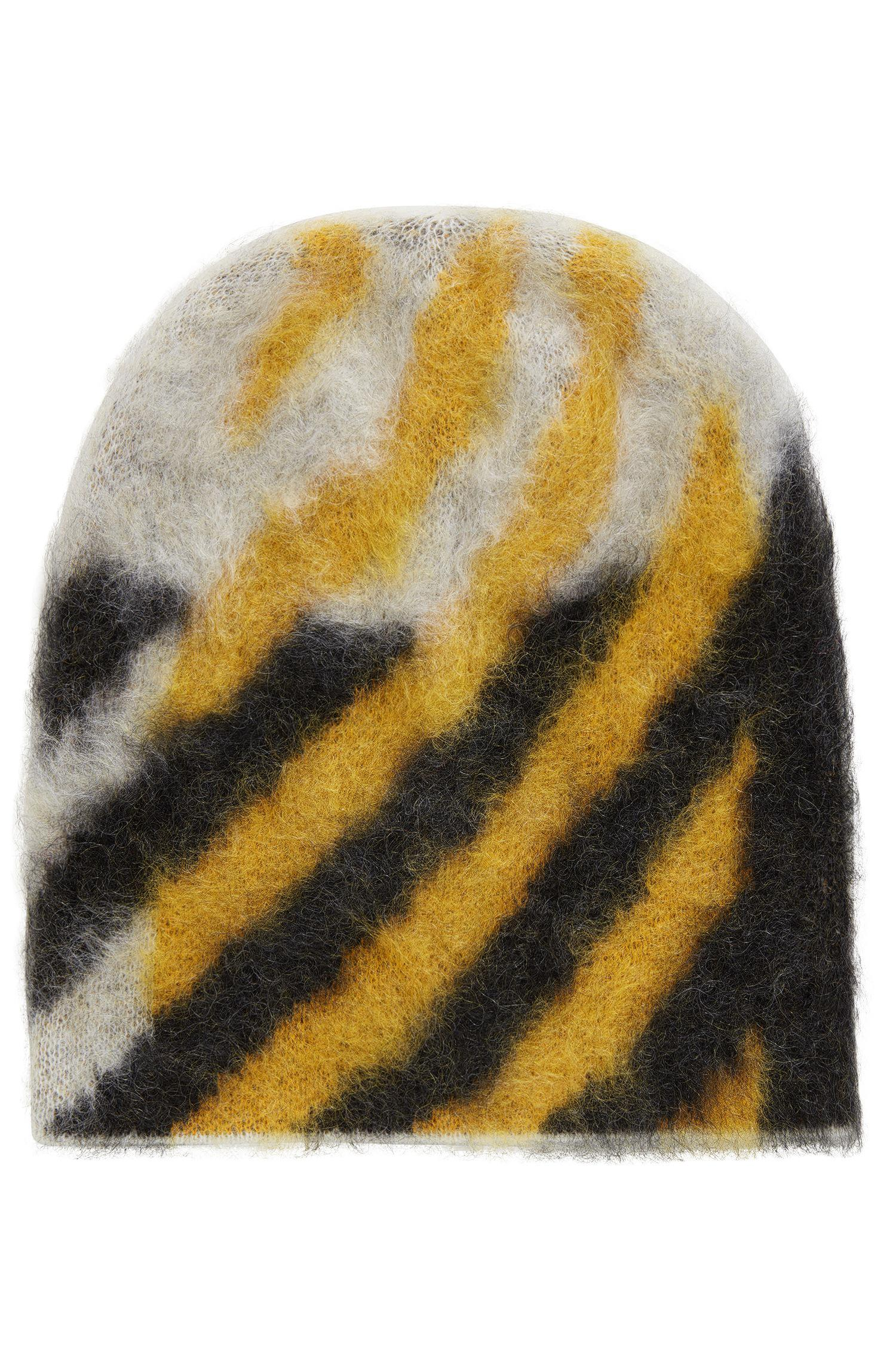 96d931eb8dfde BOSS Textured Wool-blend Beanie Hat With Contrast Pattern - Lyst