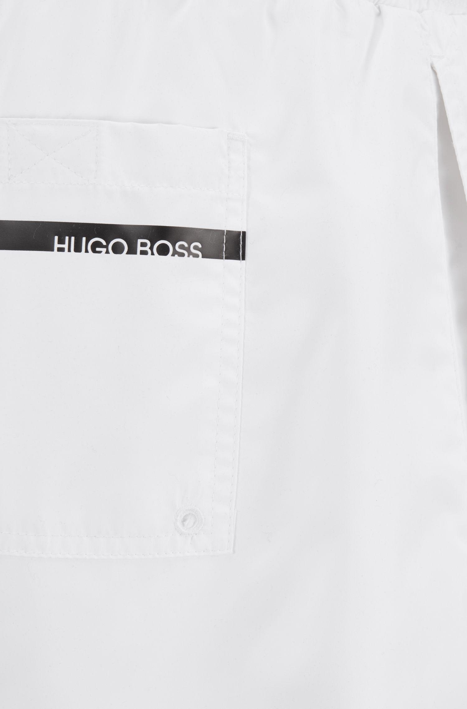 4ab7b536e BOSS - Natural Medium-length Swim Shorts With Heat-sealed Logo Print for  Men. View fullscreen