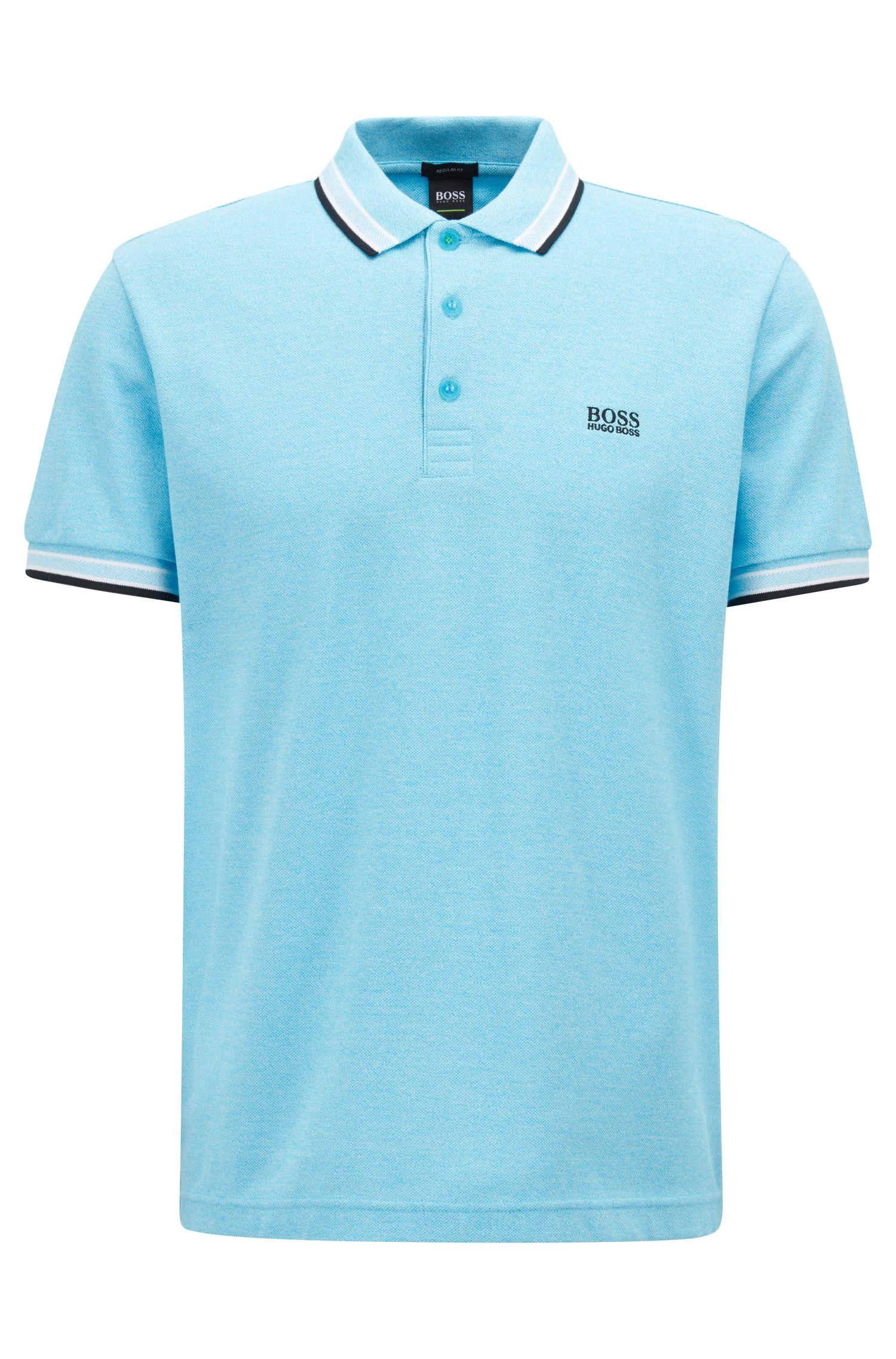 d7794e5e1 BOSS - Blue Cotton-piqué Polo Shirt With Logo Undercollar for Men - Lyst.  View fullscreen