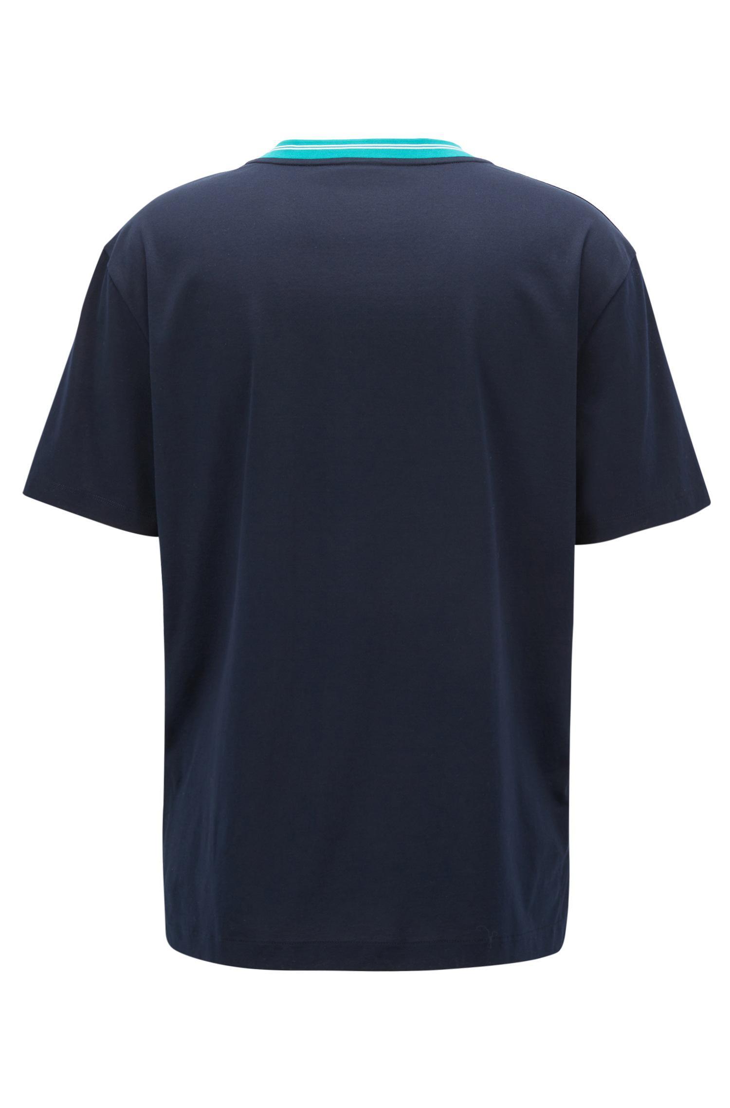 Mercerised-cotton T-shirt with contrast collar band BOSS 2018 New Cheap Online Cheap For Cheap z1LrnC2sp