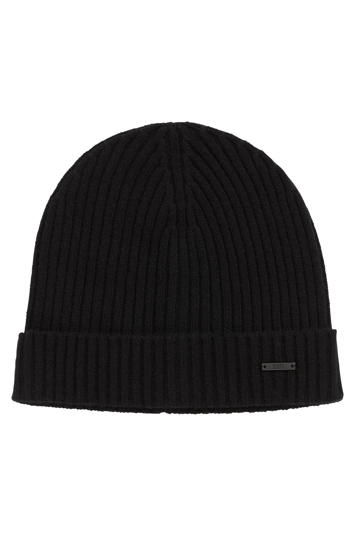 BOSS - Black Ribbed Beanie And Scarf Set In Pure Cashmere for Men - Lyst.  View fullscreen 8363e9205086