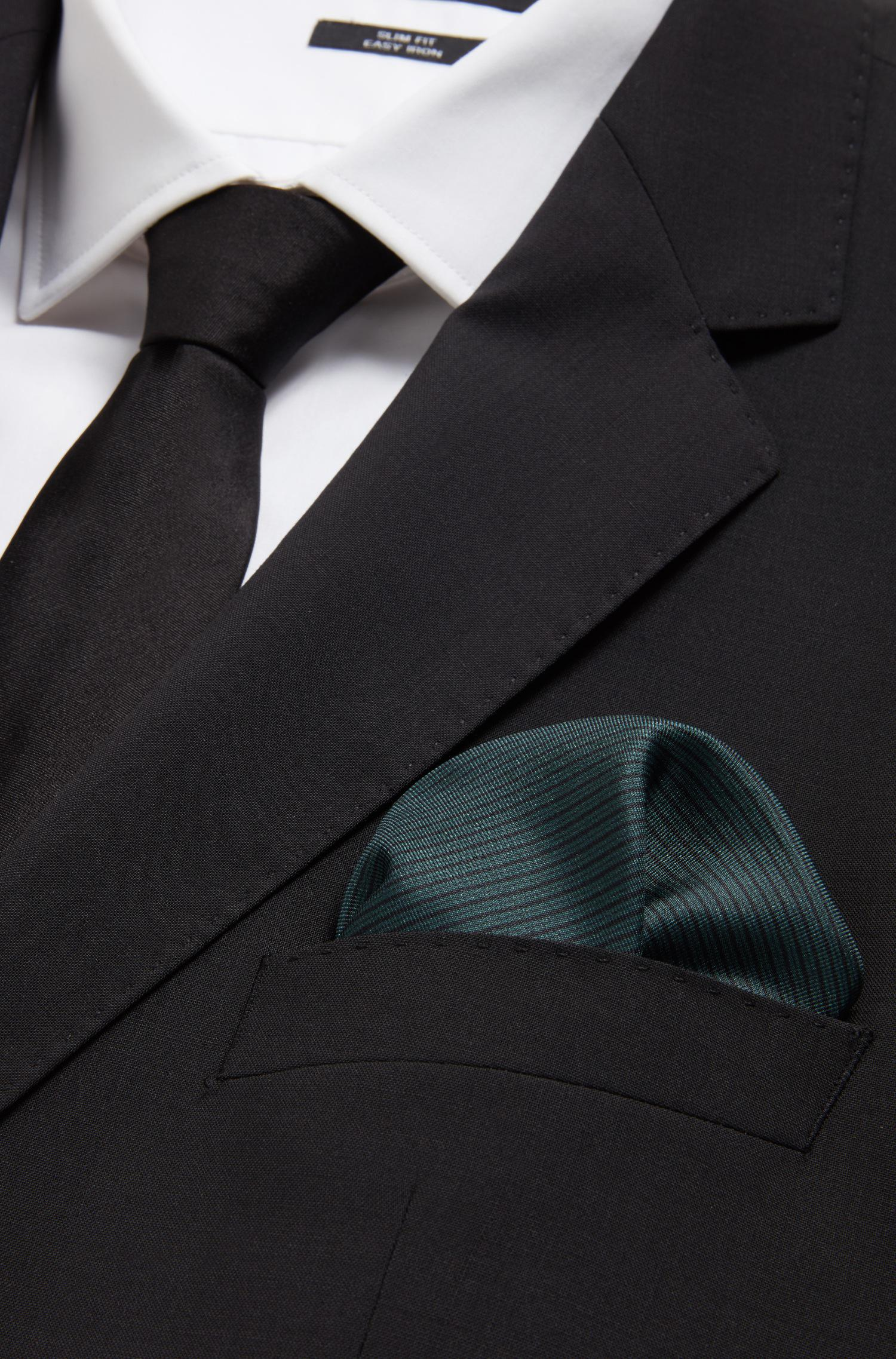 Diagonally striped pocket square in silk BOSS 0EluNfz